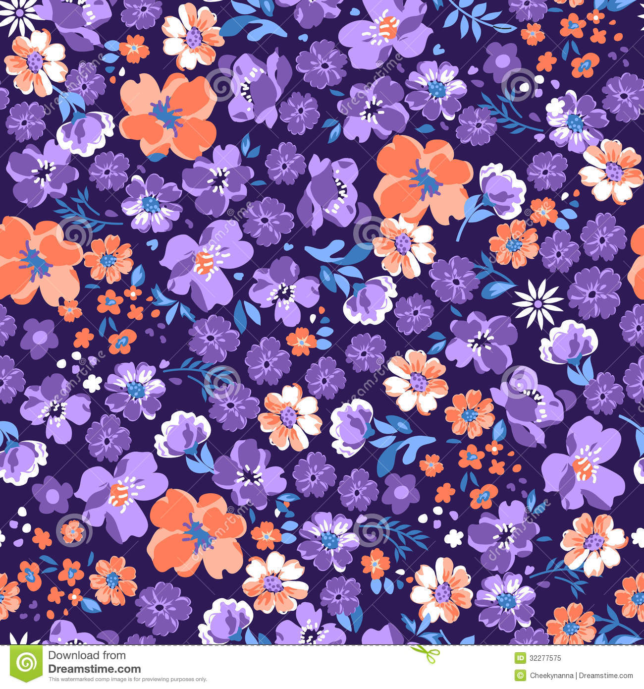 Purple Floral Background Stock Vector Illustration Of Repeat