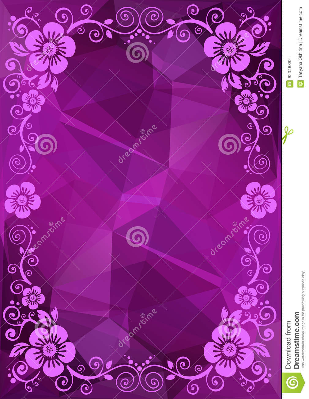 Purple Polygonal Abstract Background: Purple Floral Border Stock Vector. Illustration Of Polygon