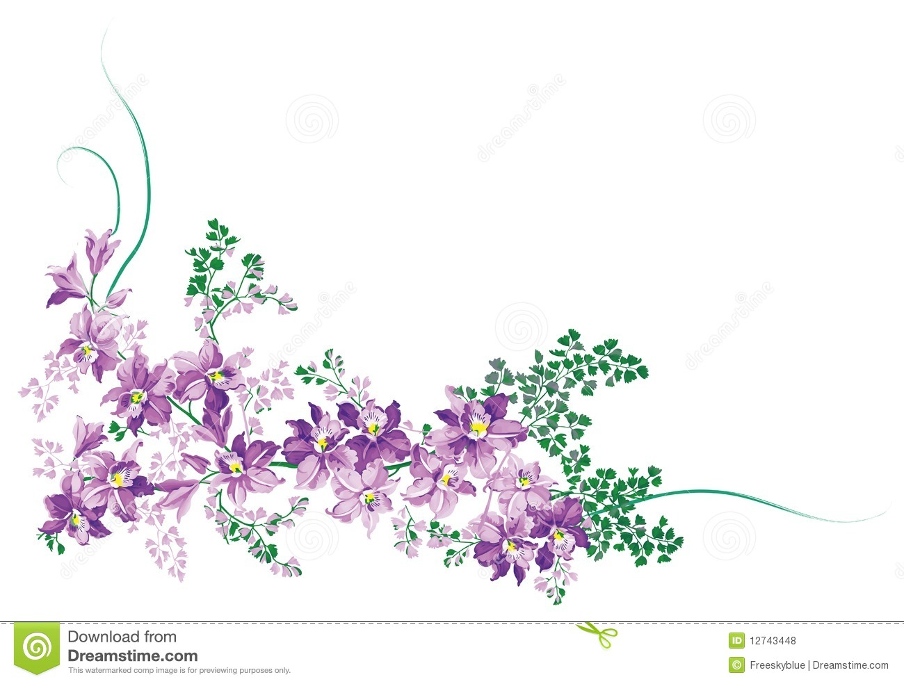 Drawing of flowers and vine in a white background. Flower Vine Clipart