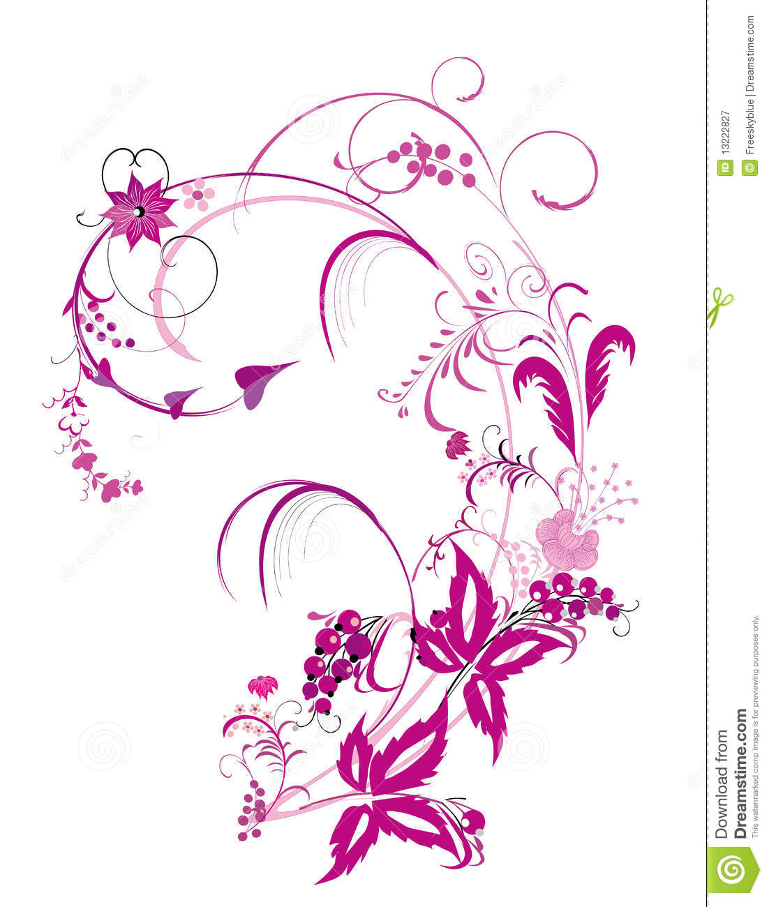 Purple Flower And Vines Pattern Royalty Free Stock Photography - Image ...