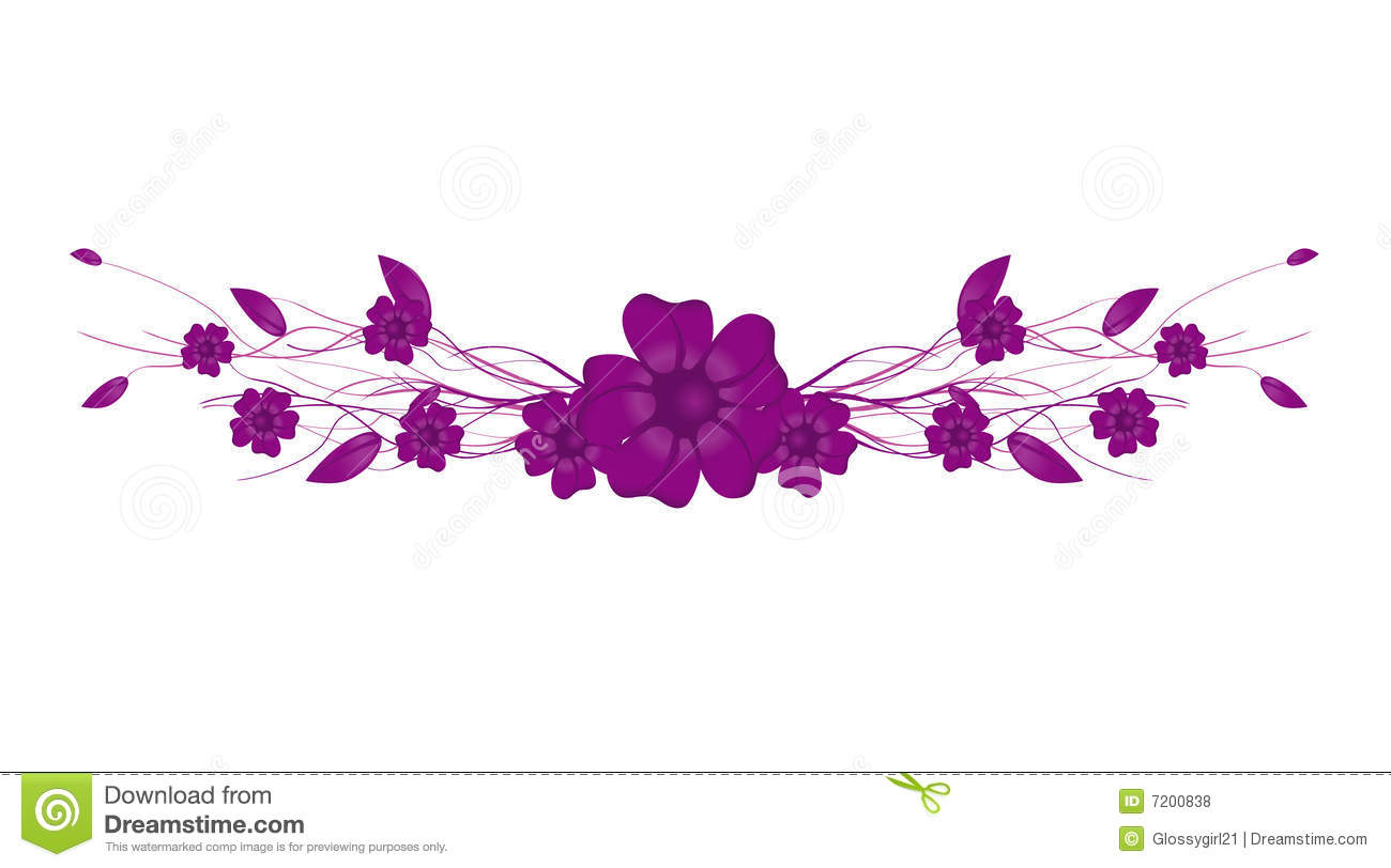 Green Leaf Border Line Purple Flowers stock v...