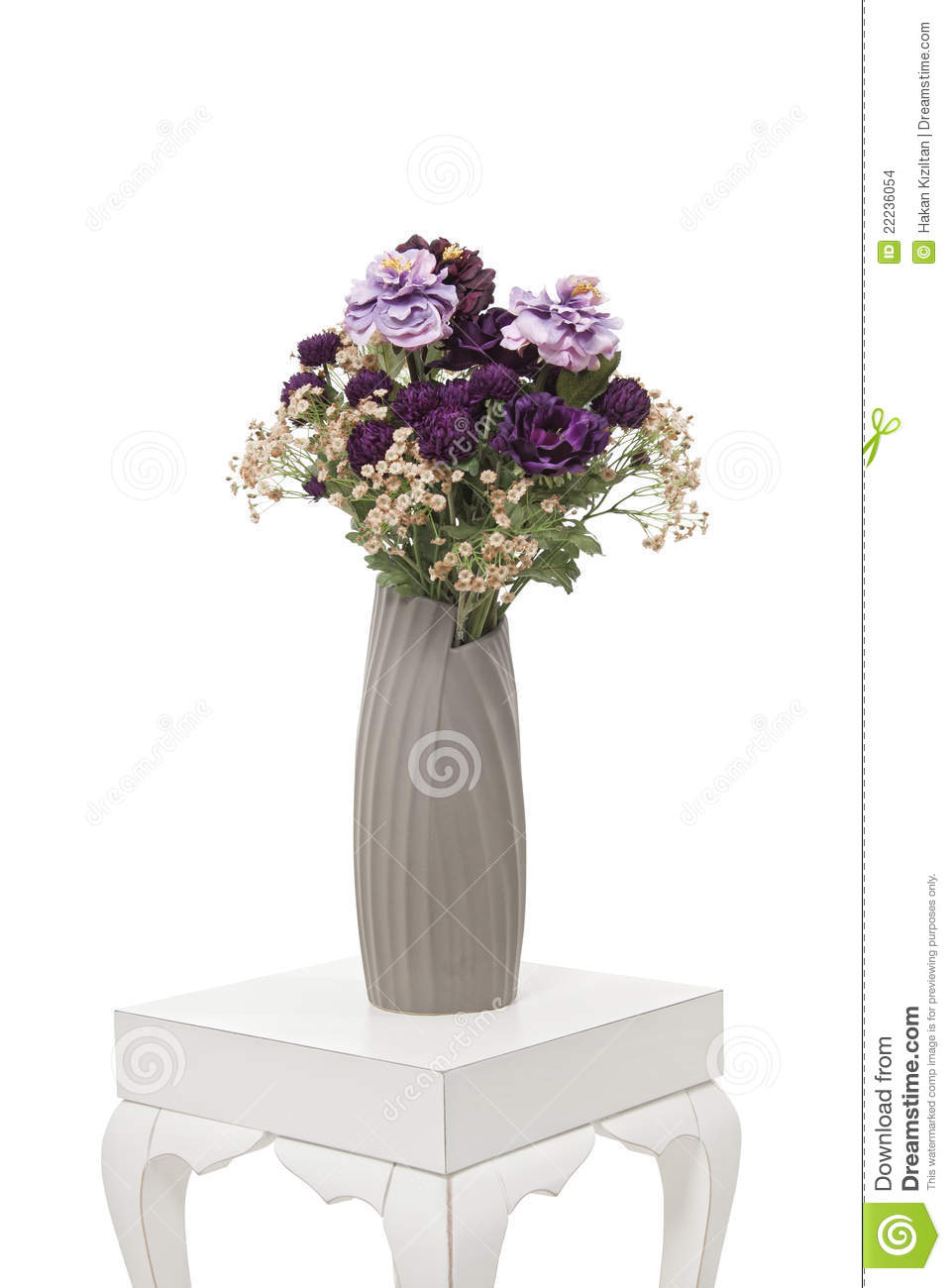 Purple Flowers In Vase On The Table Stock Images Image 22236054