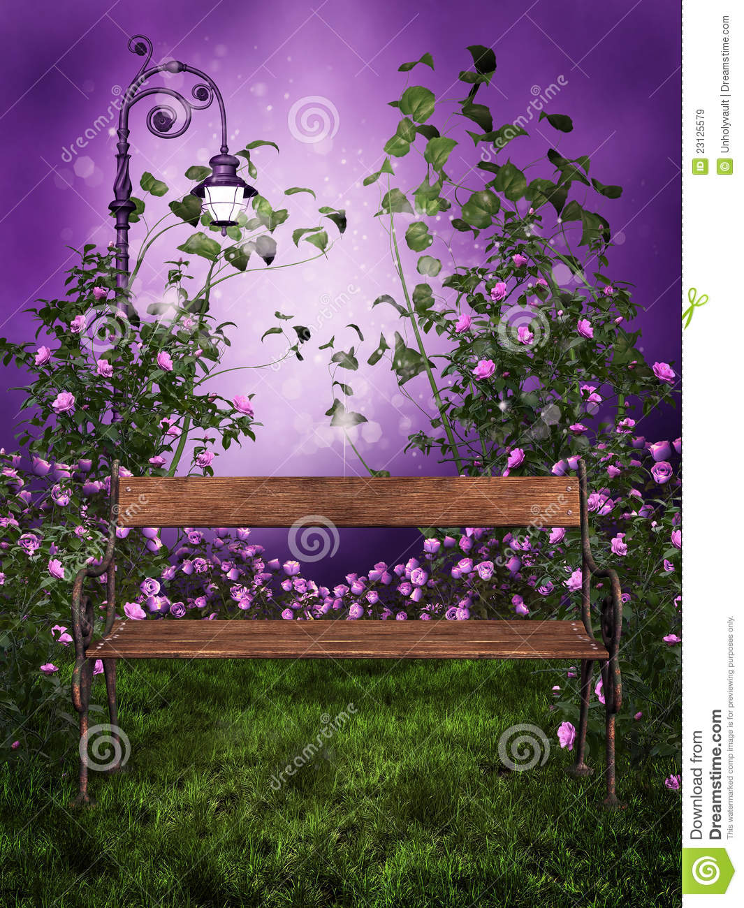 Purple garden with a bench stock illustration for Free rose garden designs
