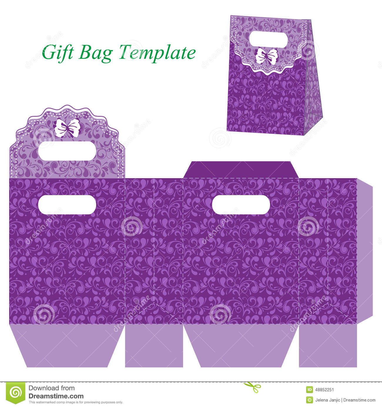 Purple Gift Bag With Floral Pattern And Bow Stock Vector