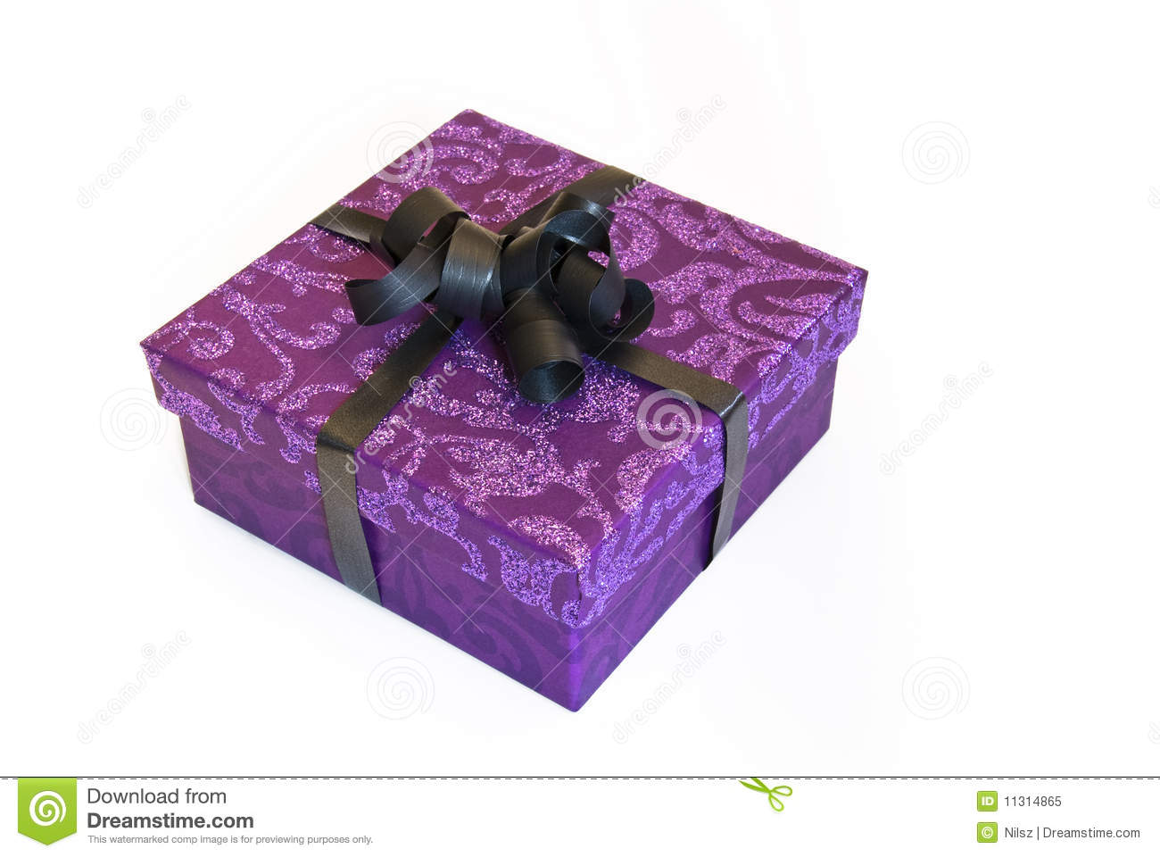 Purple gift box with glitter stock image