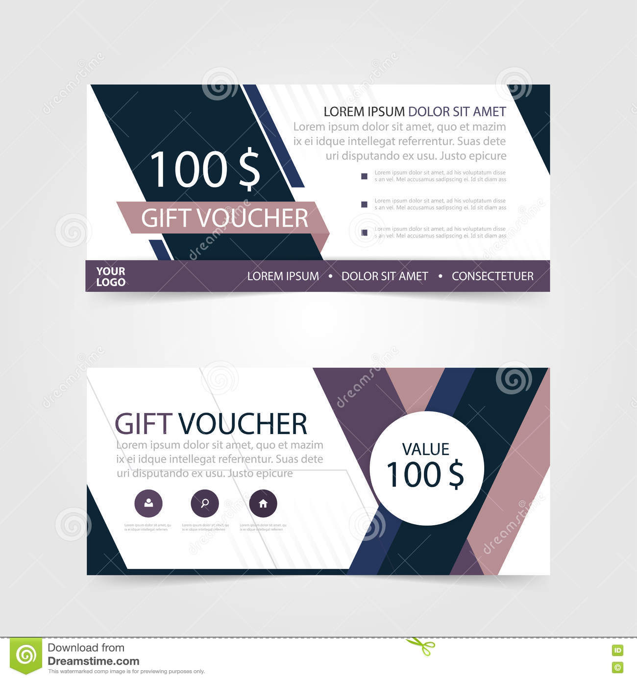 Purple Gift Voucher Template With Colorful Patterncute Gift Voucher - 100 gift certificate template