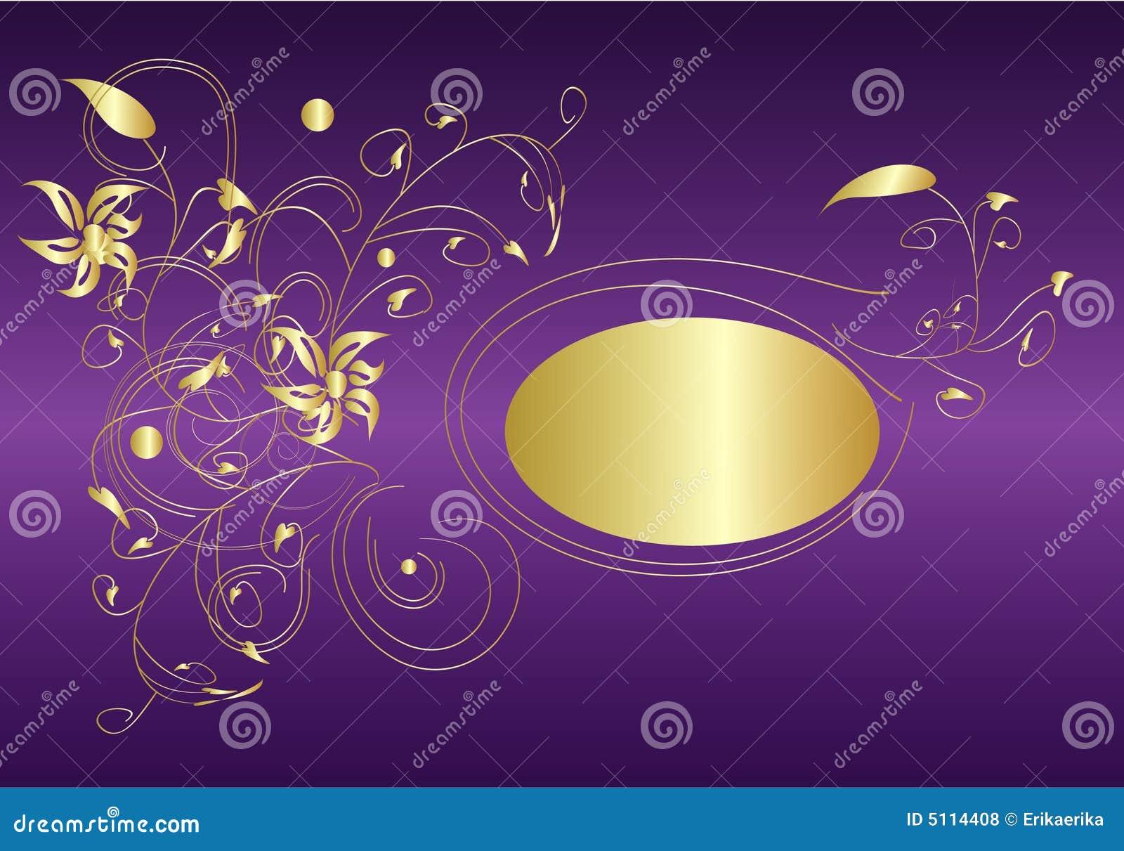purple and gold stock vector image of greeting leaf. Black Bedroom Furniture Sets. Home Design Ideas