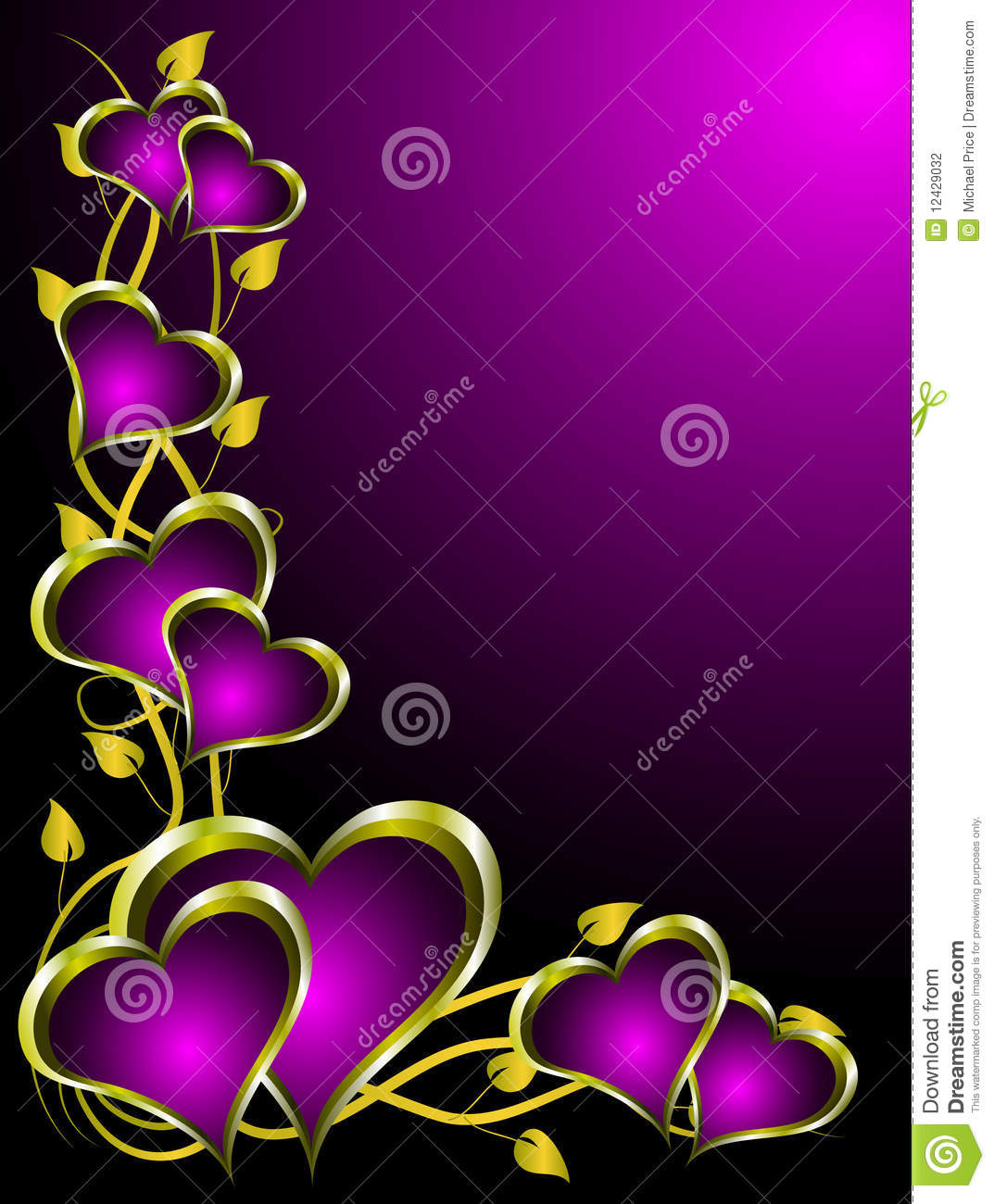 Purple And Gold Hearts Valentines Background Stock