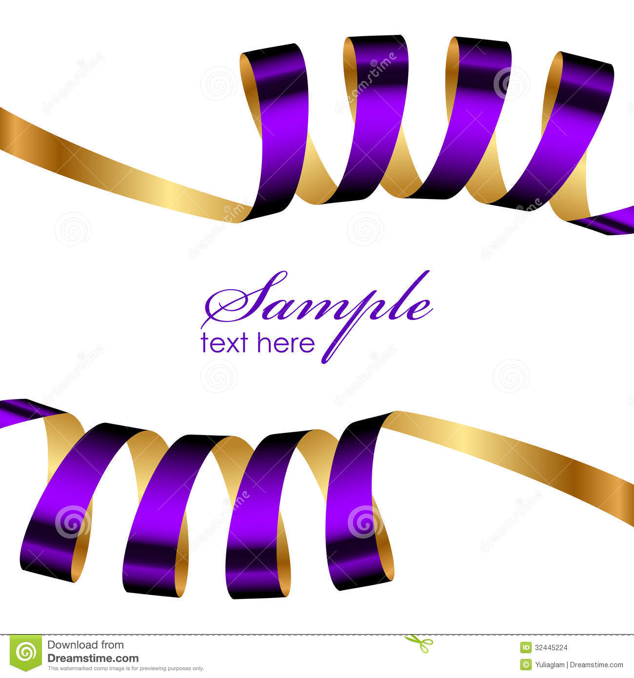 Clip Art of Purple and Gold Hearts Valentines Background