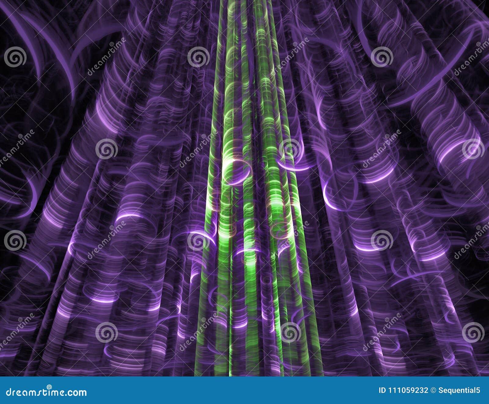 Purple and green alien tendrils