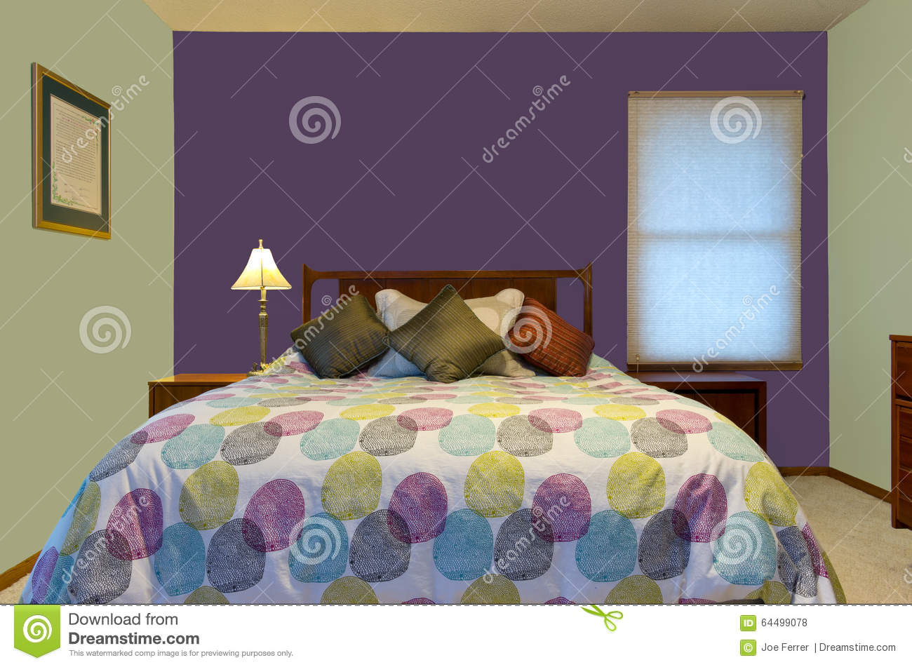 Purple and green bedroom interior stock photo image 64499078 for Purple and green bedroom walls