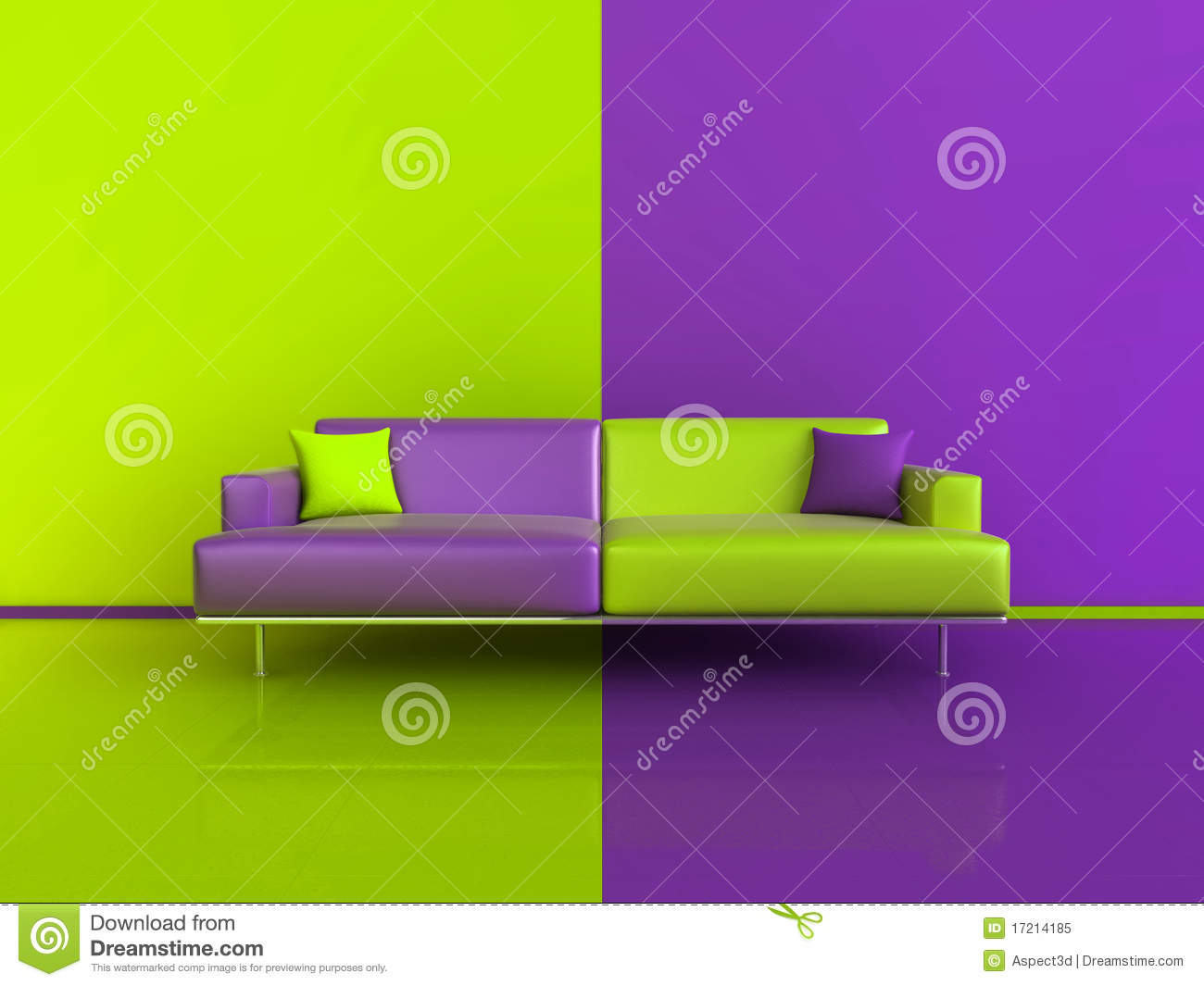 Purple Green Contrast Interior Stock Illustration Image