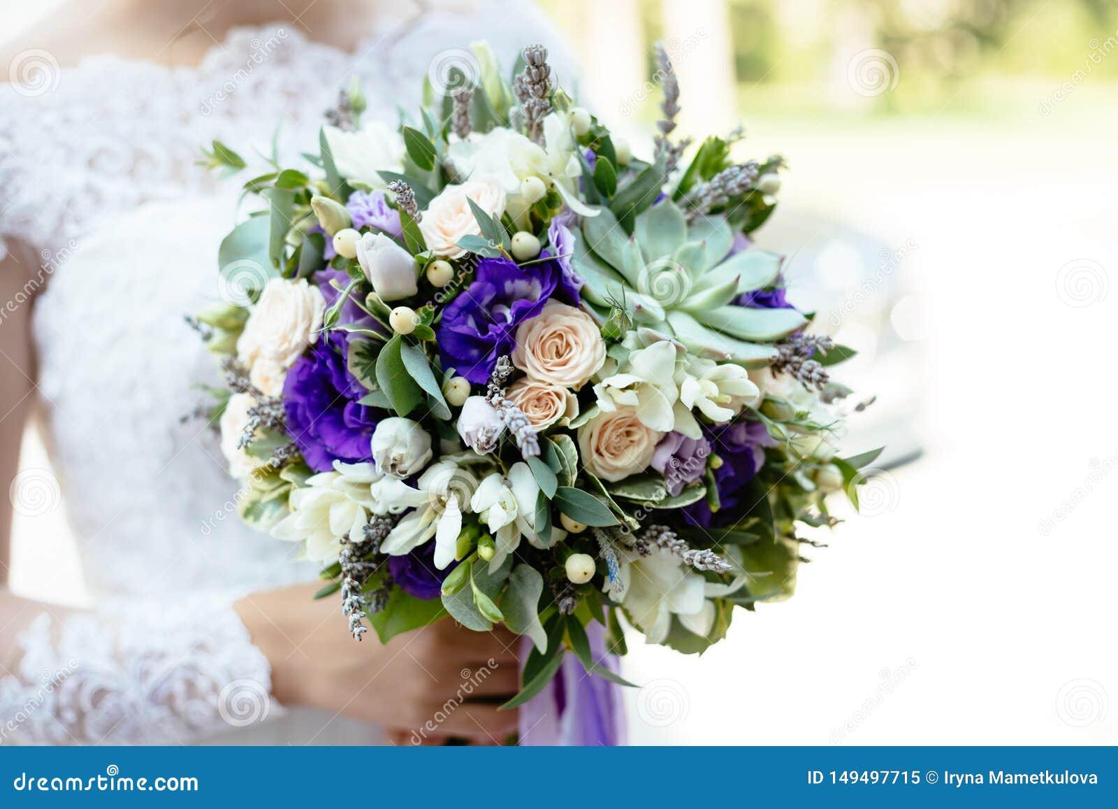 Purple Green Succulent Flower Wedding Bouquet Stock Image Image Of Close Lavander 149497715