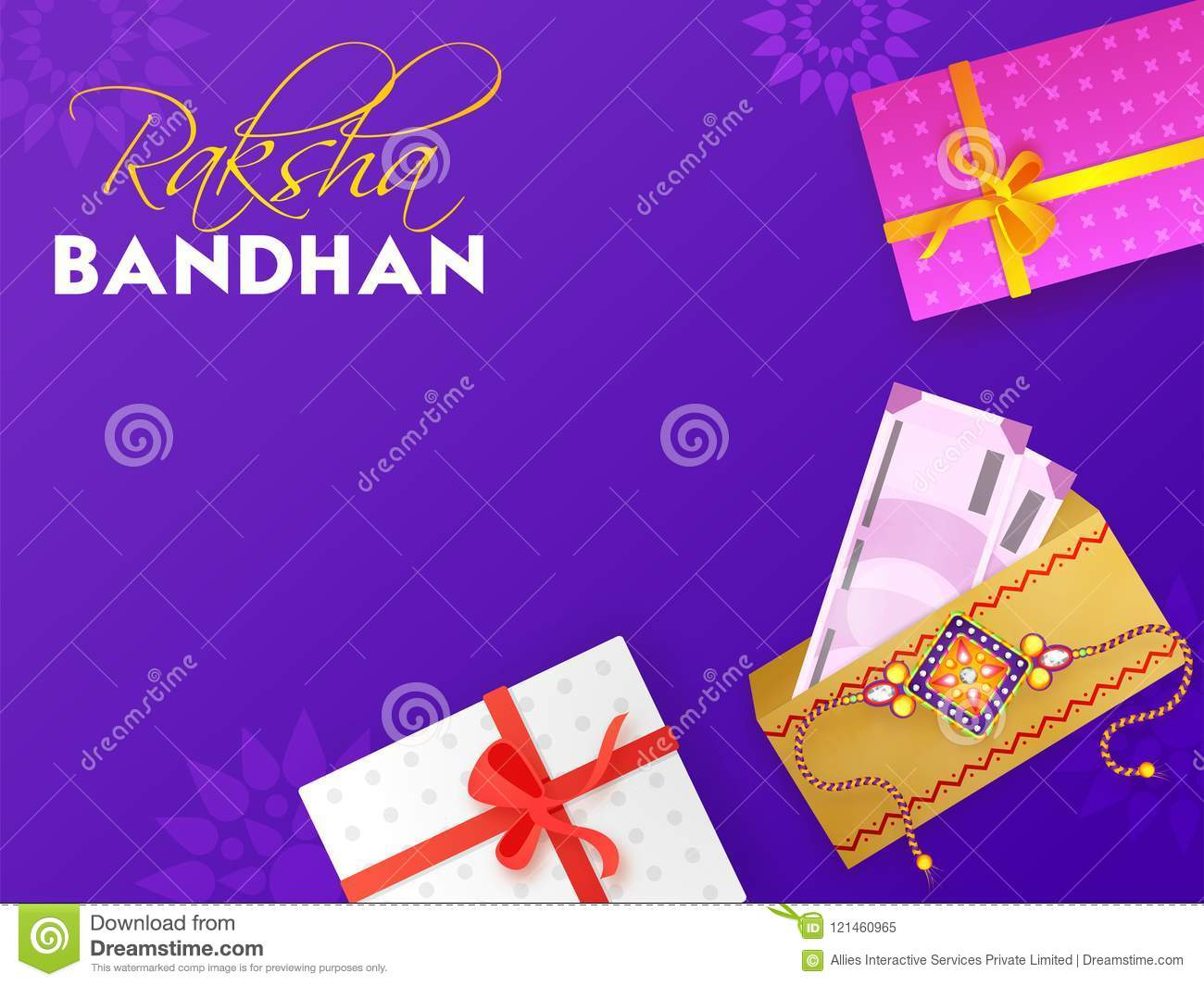 Purple Greeting Card Design For Occasion Of Indian Festival Raks