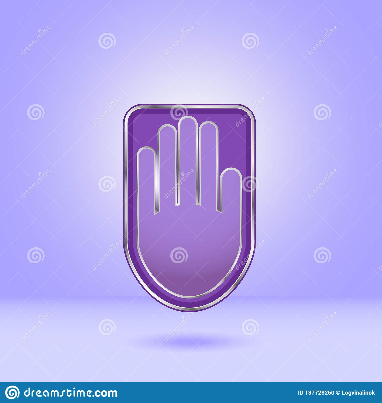 Purple hand icon with metal edging