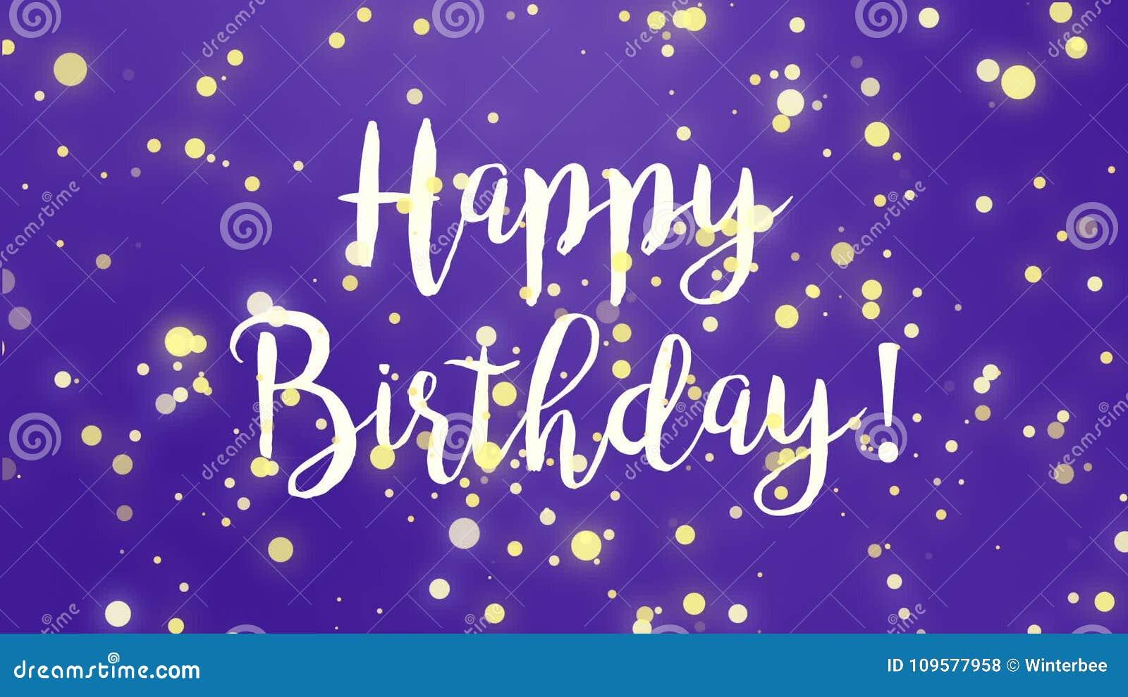 Purple Happy Birthday Greeting Card Video Stock Footage Video Of