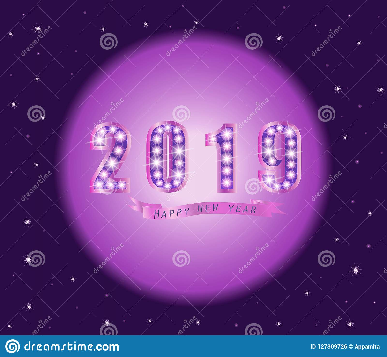 purple happy new year 2019