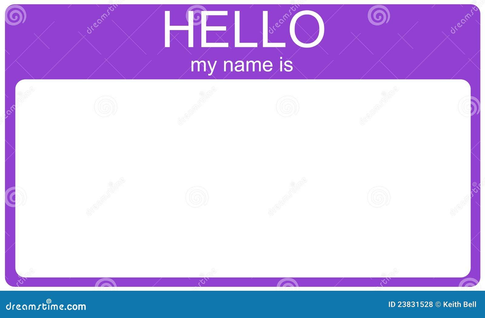 Purple Tag: Purple Hello Nametag Royalty Free Stock Photos
