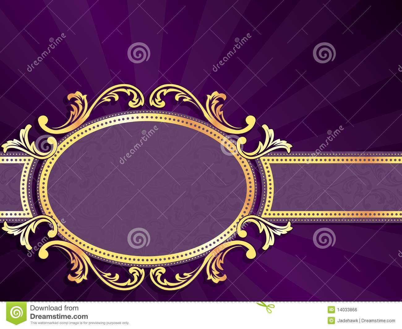 Purple Horizontal Banner With Gold Filigree Royalty Free Stock ...