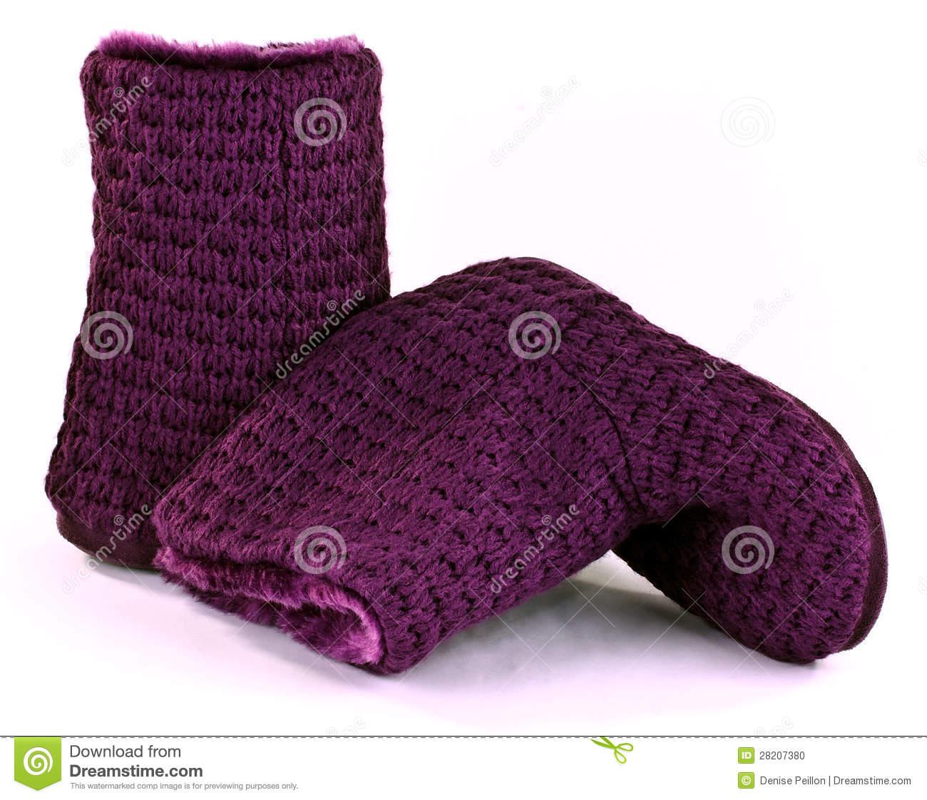 Purple Knitted Slipper Boots Stock Photo - Image: 28207380