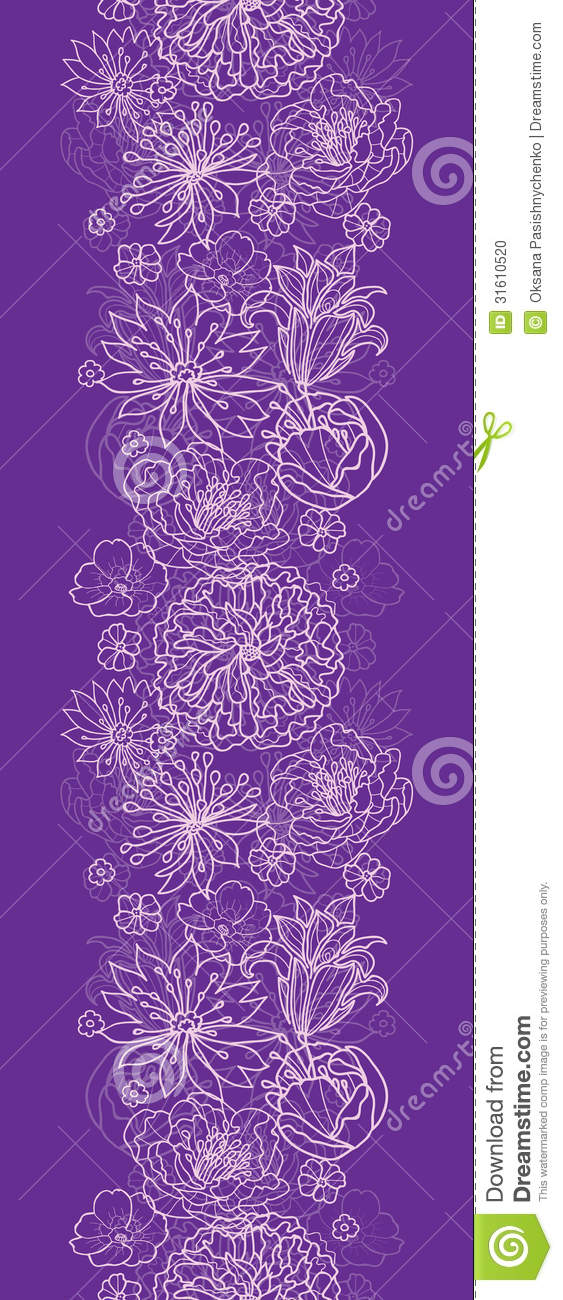 purple lace flowers vertical seamless pattern background