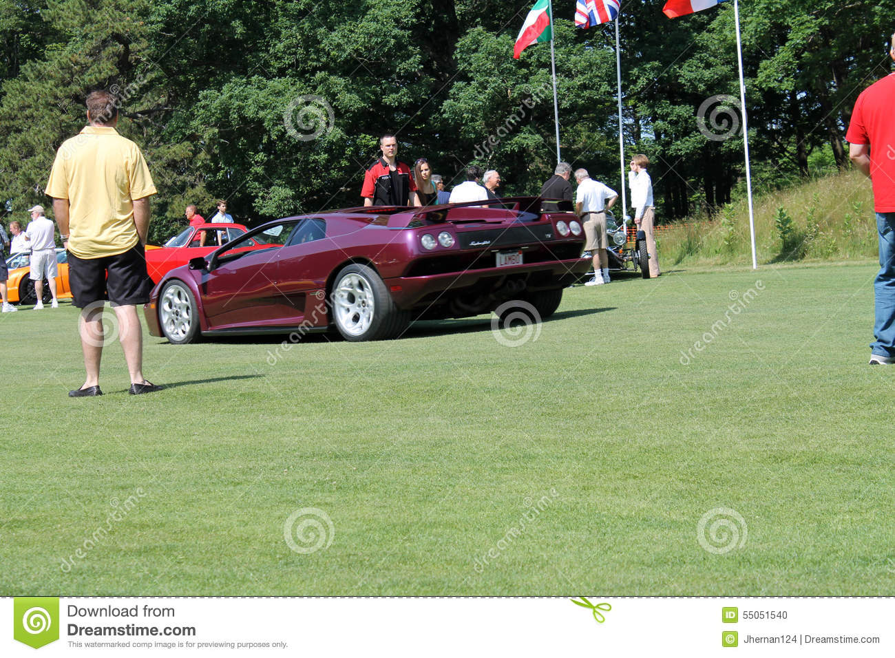 Purple Lambo Driving On Lawn Editorial Image Image Of Exotic