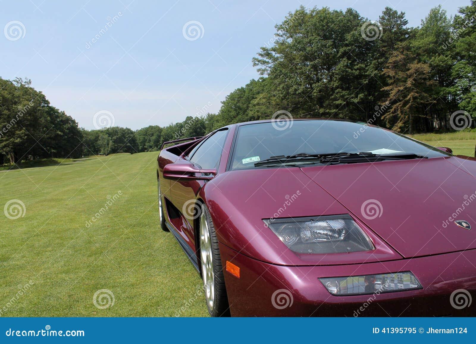 Purple Lamborghini On Lawn Corner View Editorial Image Image Of