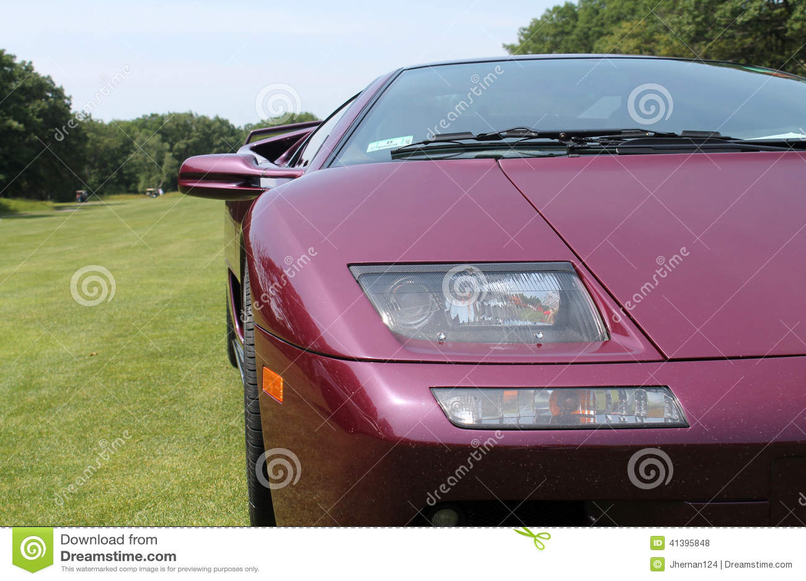 Purple Lamborghini Diablo Front Corner Detail Stock Photo Image Of