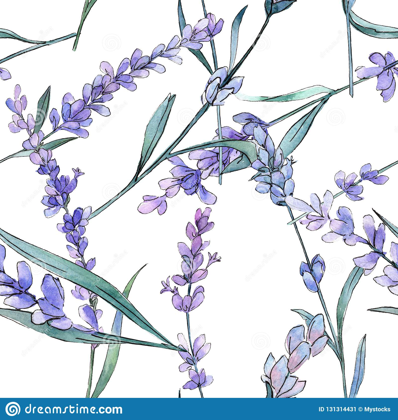 Purple lavender. Floral botanical flower. Watercolor background illustration set. Seamless background pattern.