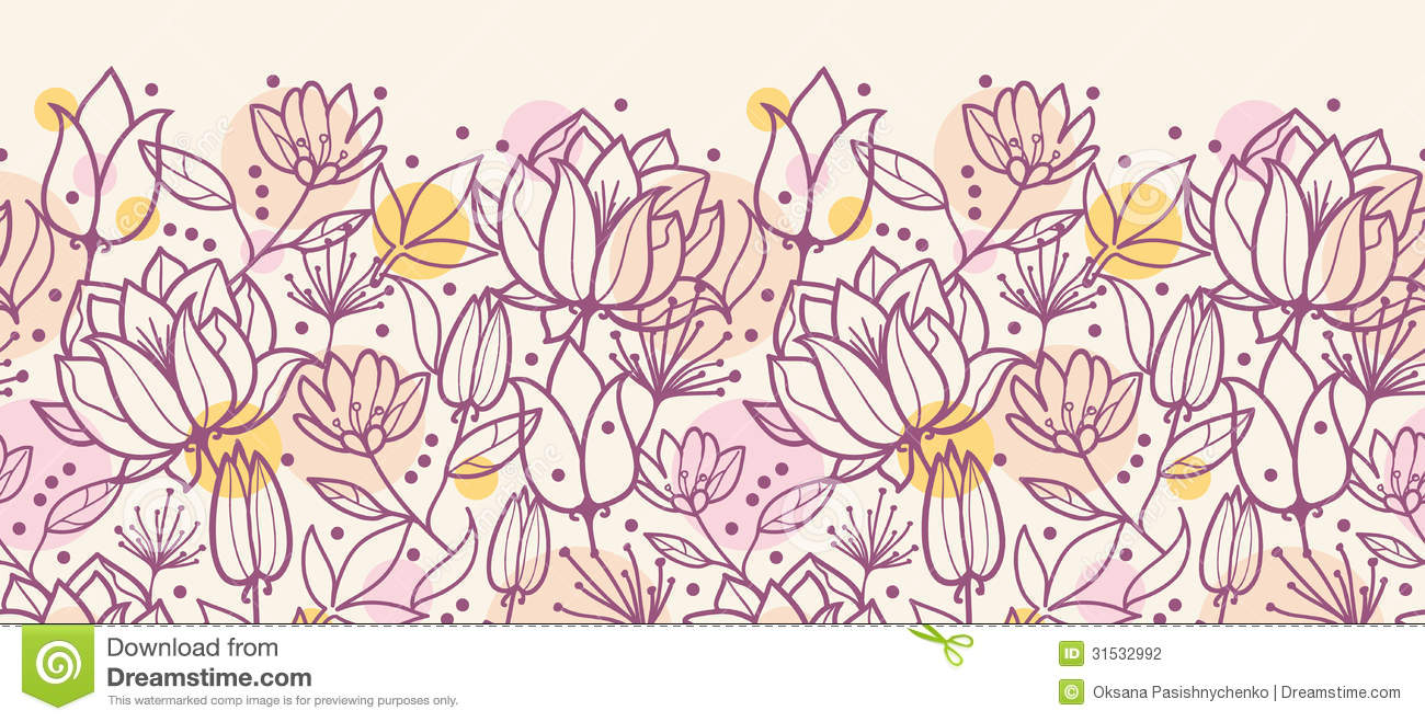 Line Art Flowers Vector : Purple line art flowers horizontal seamless stock