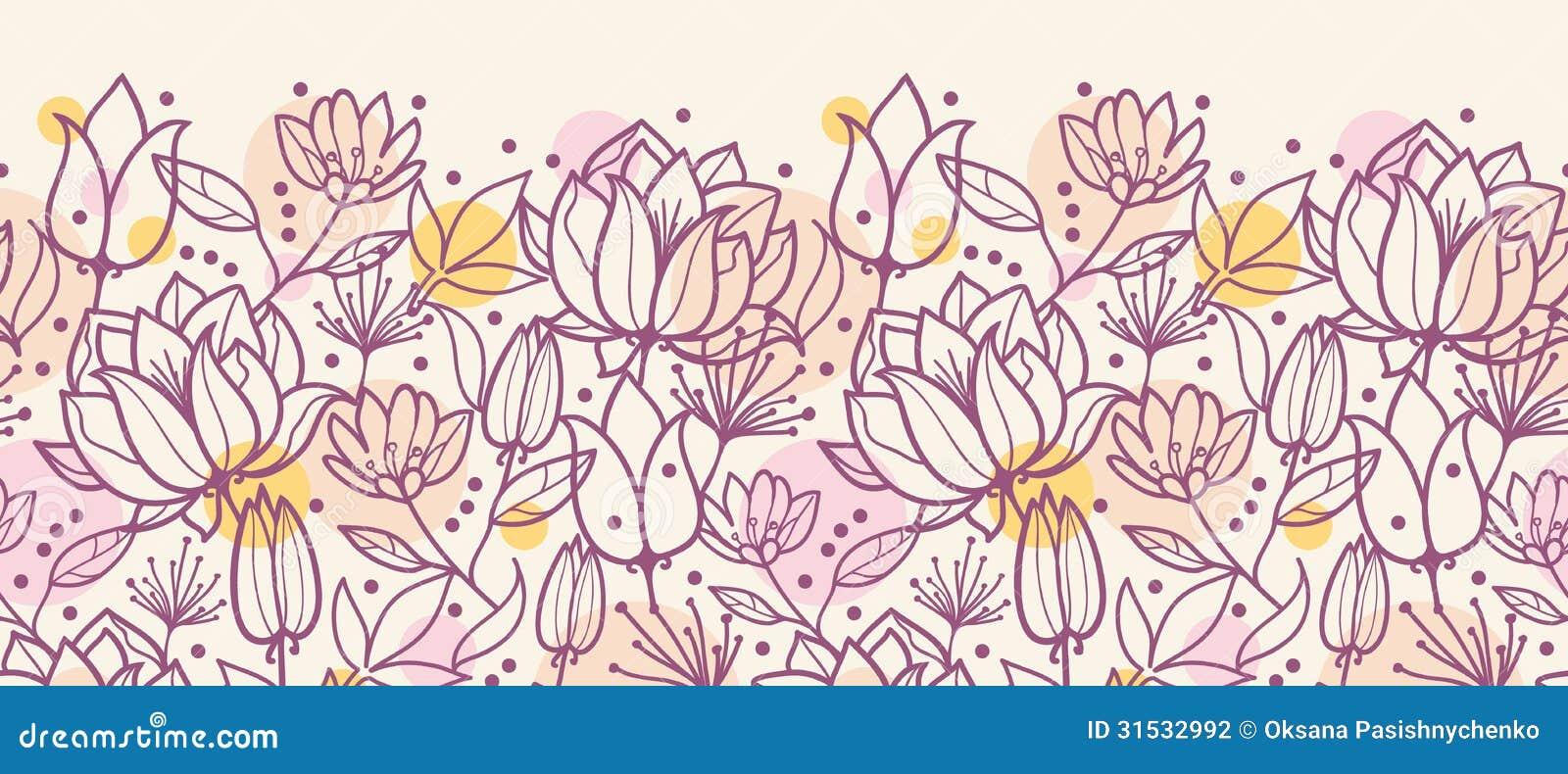 Purple Line Art Flowers Horizontal Seamless Stock Photography Image