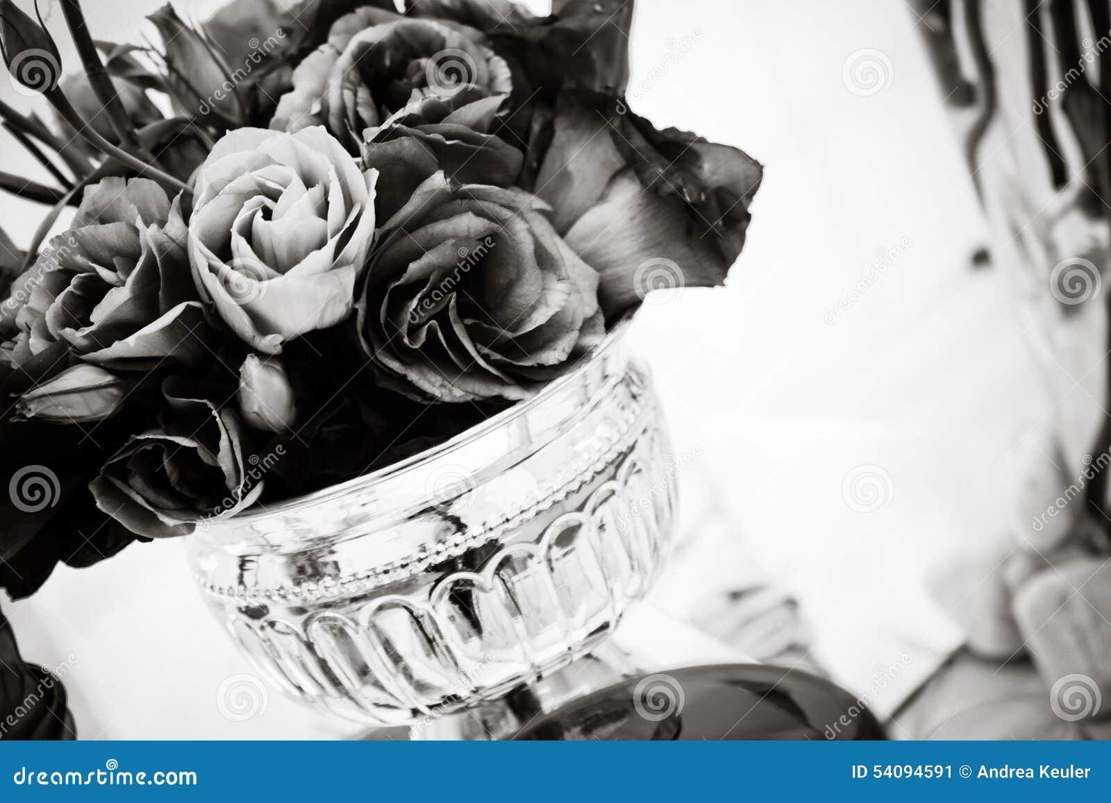 Purple Lisianthus Black White Stock Image Image Of Decorations