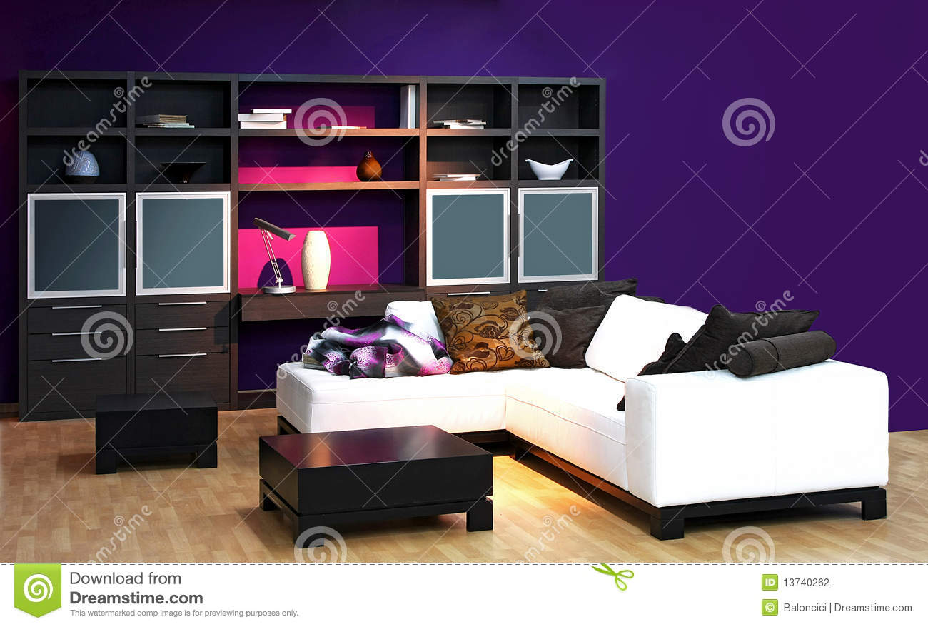 Purple Living Room Furniture Purple Living Room Stock Photography Image 13740262