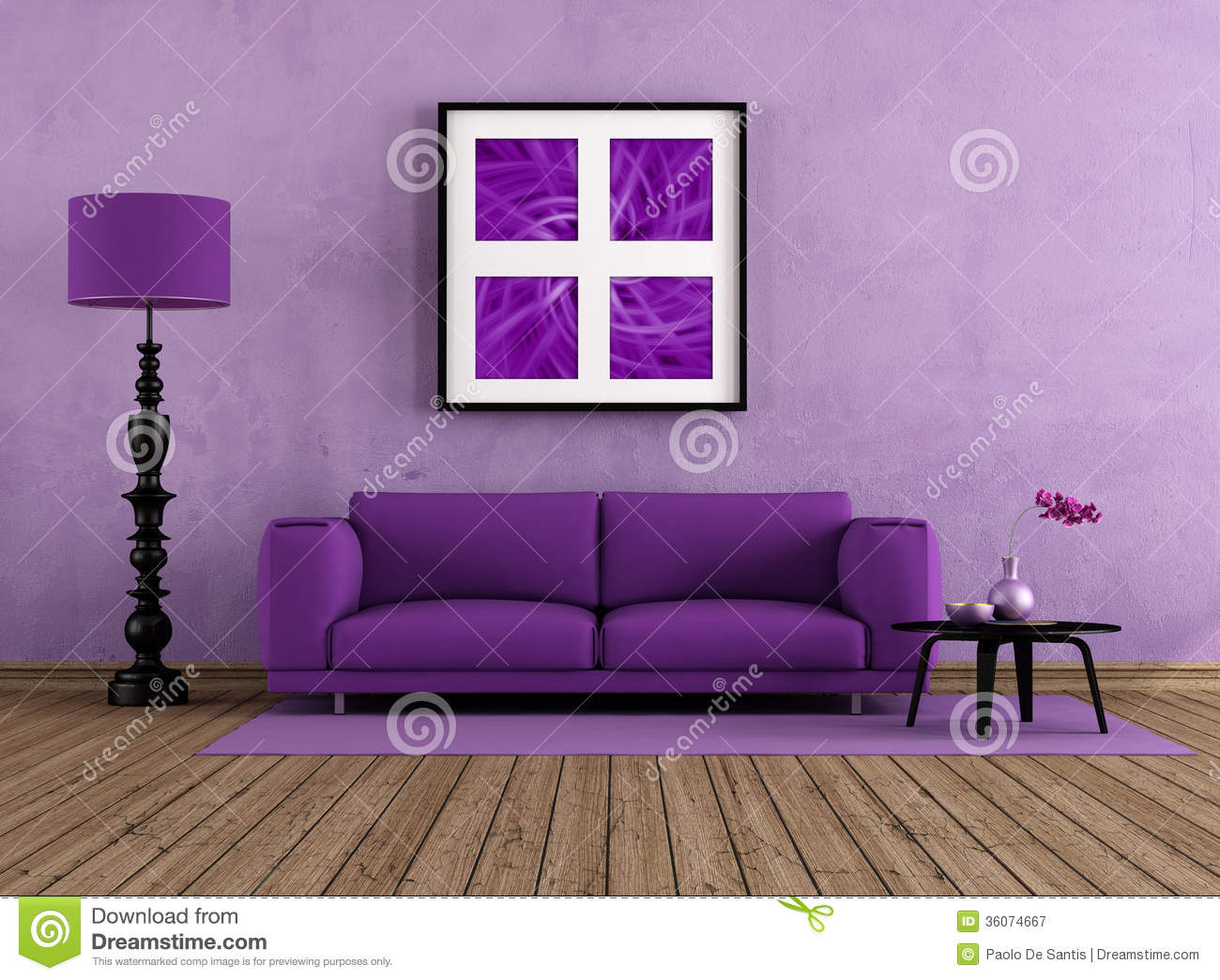 Royalty Free Stock Photo. Download Purple Living Room ...