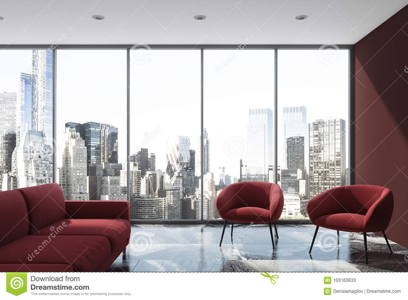 fascinating Red And Purple Living Room Part - 17: Purple living room, red sofa, armchair, loft