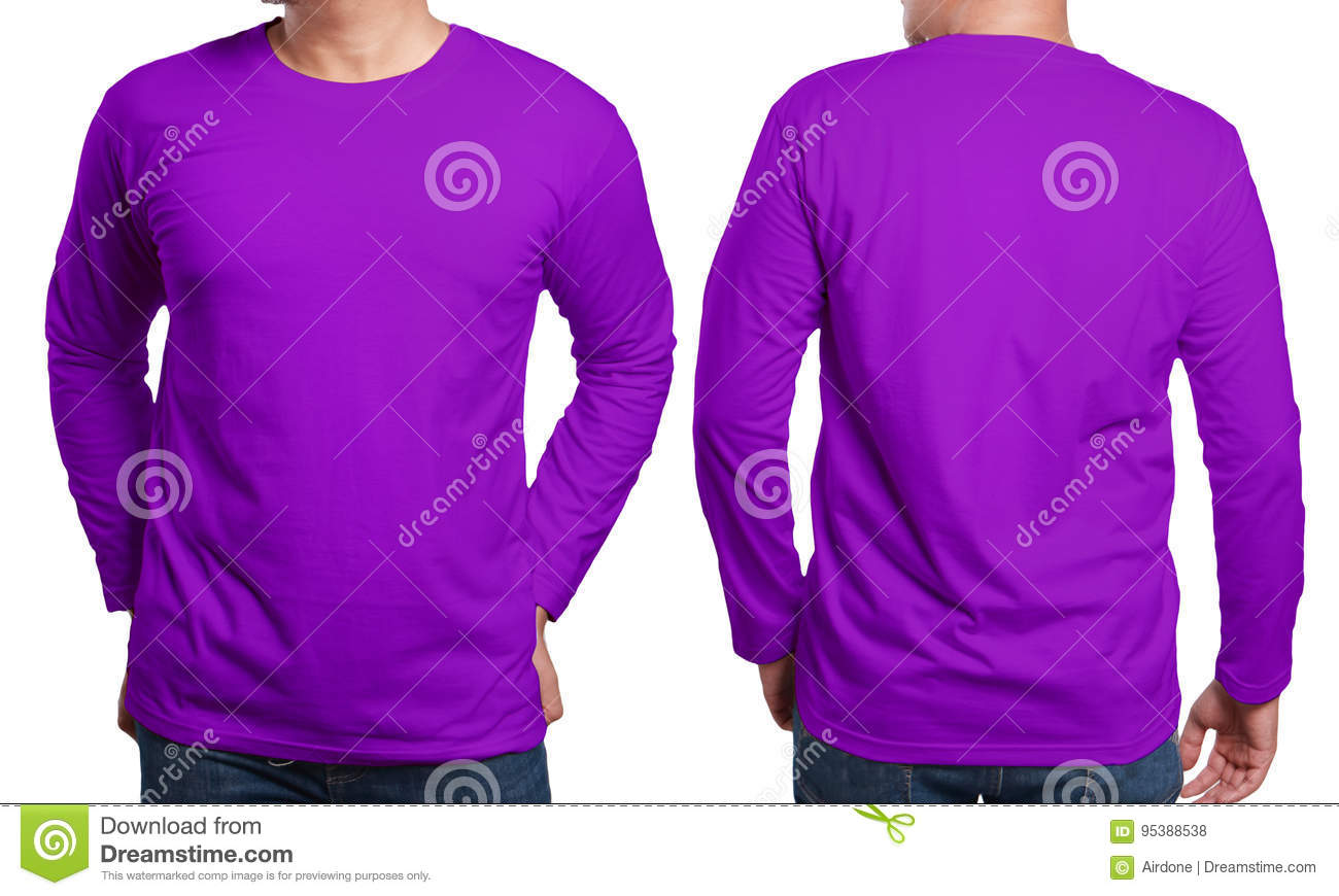 Purple Long Sleeved Shirt Design Template Stock Photo - Image of ...