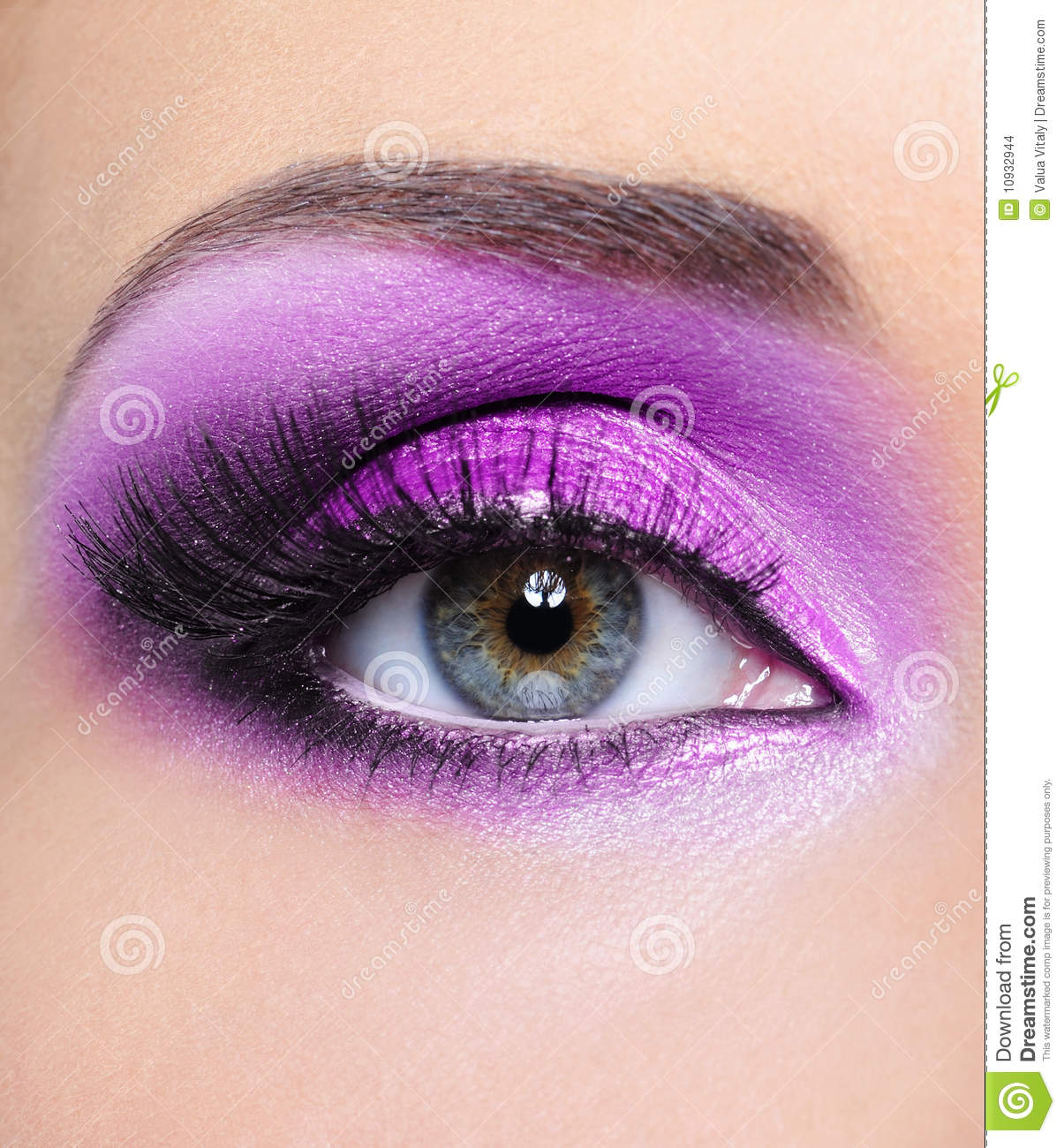 Purple Make-up Of Woman Eye Stock Images