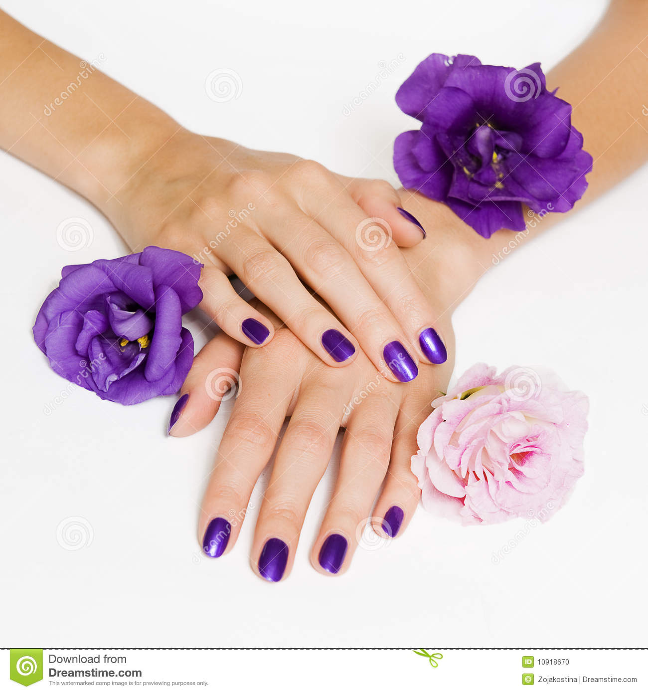 Free Manicure Beauty Hands Makeover: Purple Manicure And Flowers Stock Photo