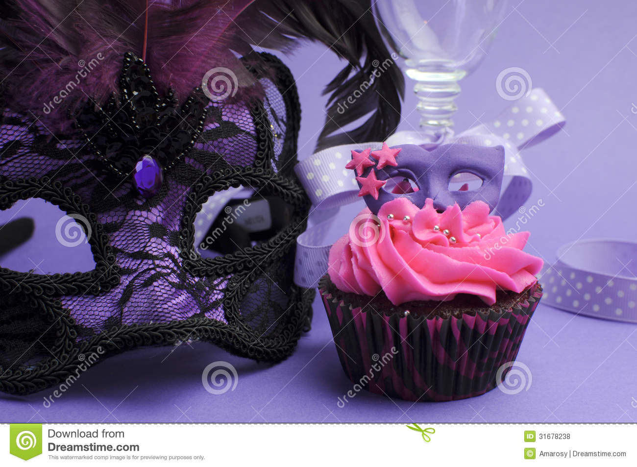 Purple Masquerade Party Decorations Close Up Stock Photo