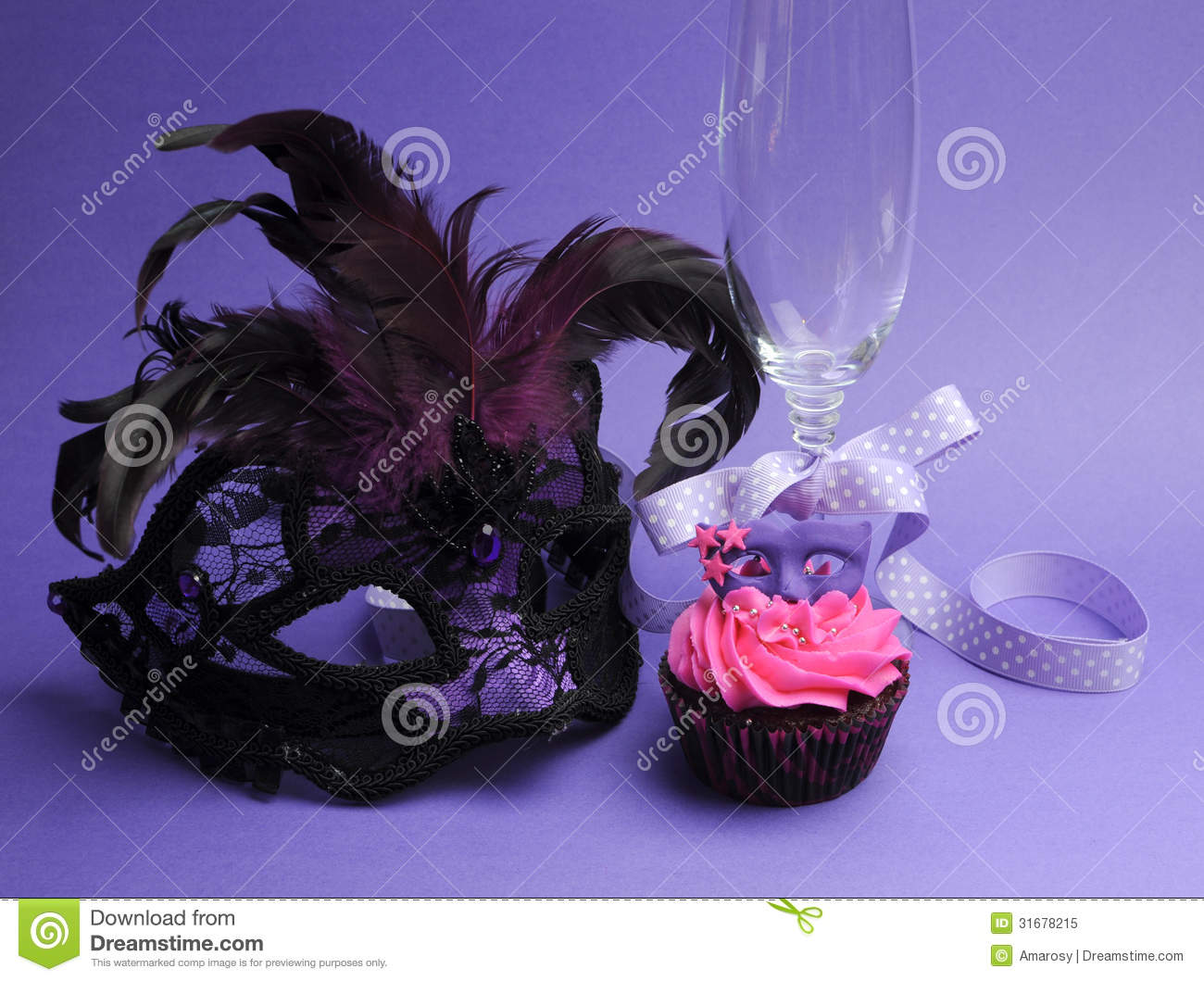 Purple Masquerade Party Decorations Stock Image - Image of ...