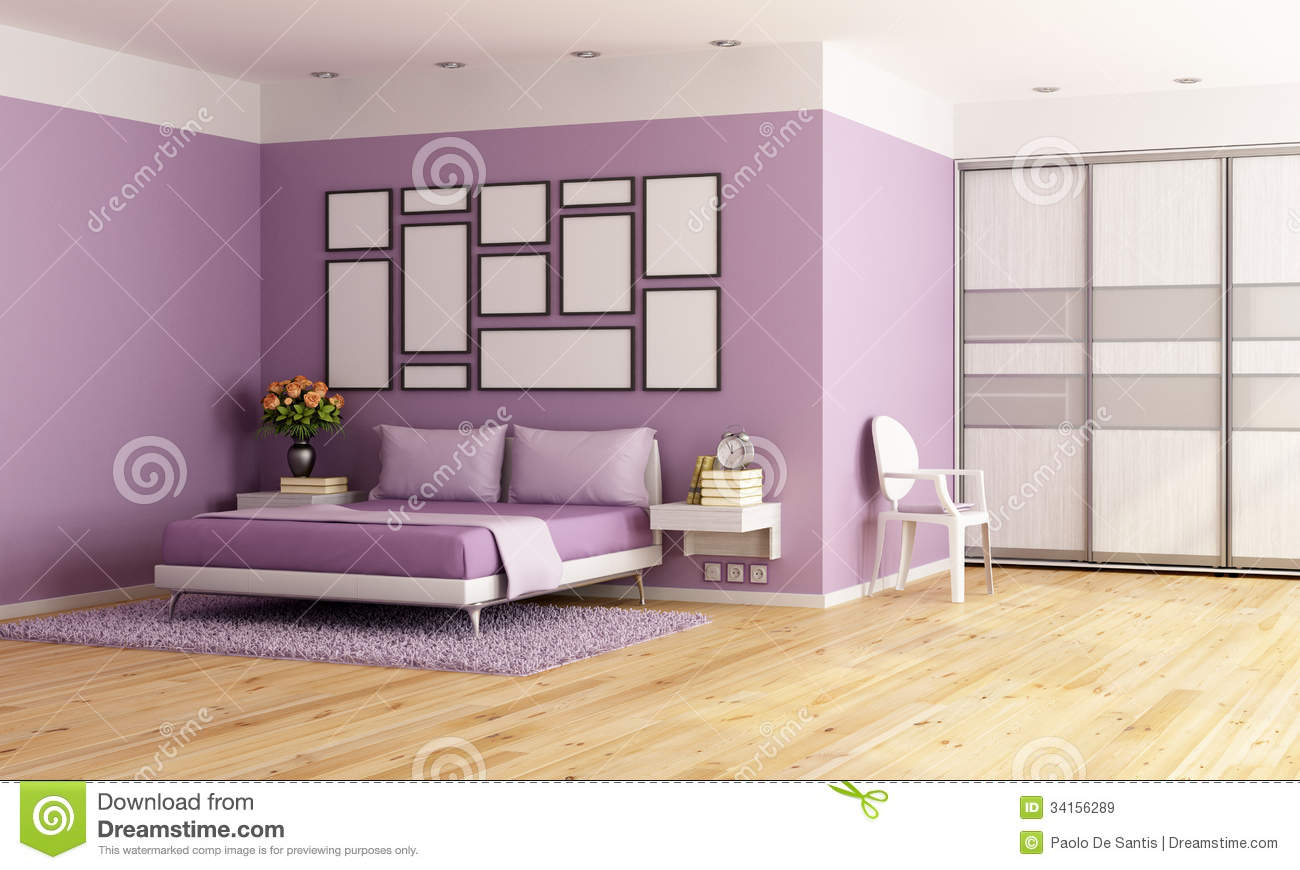 Purple Modern Bedroom Stock Illustration Image Of Ceiling