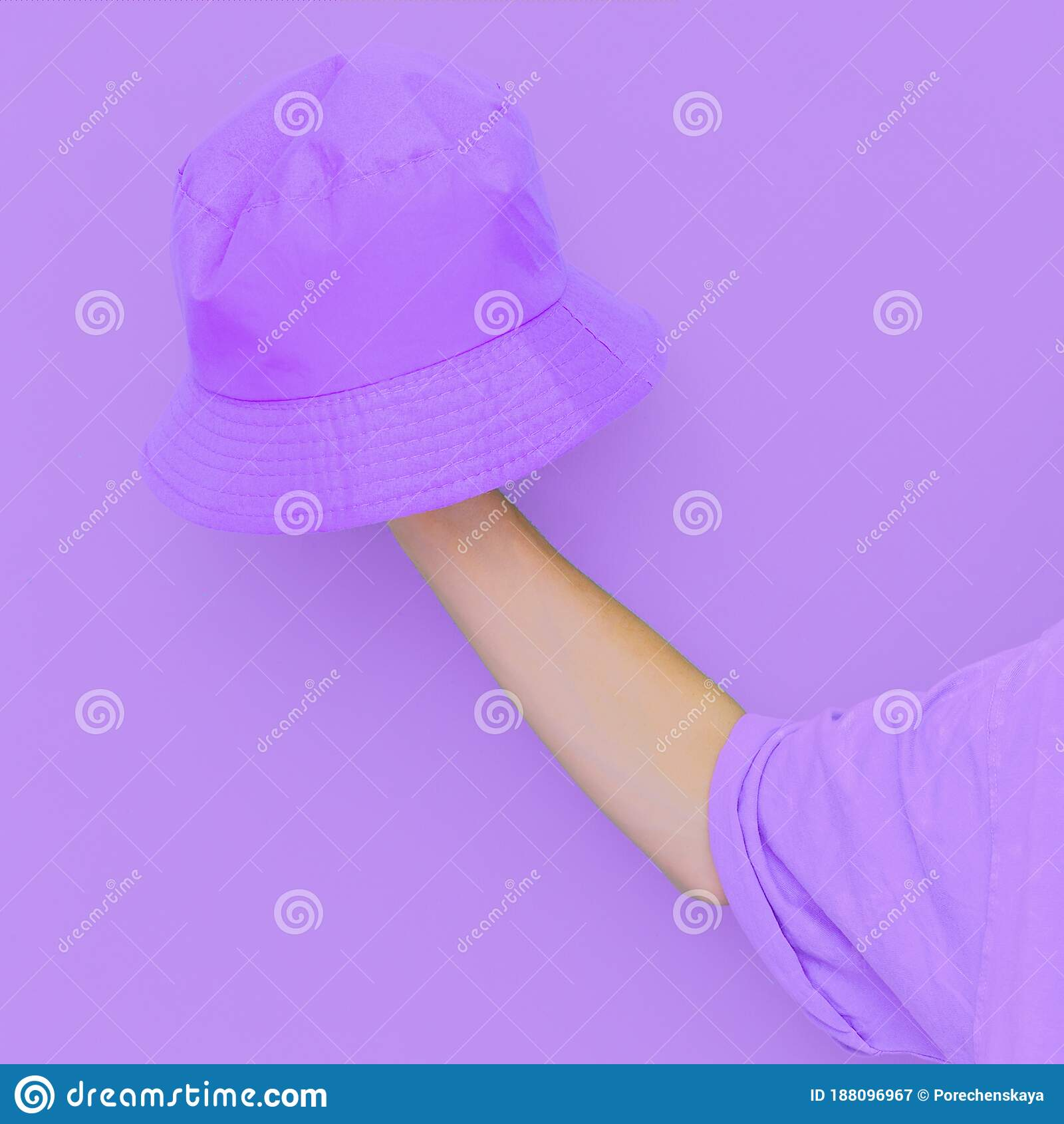Purple Monochrome Aesthetic Minimal Design Bucket Hat Trends Street Style Wear Stock Image Image Of Summer Trendy 188096967