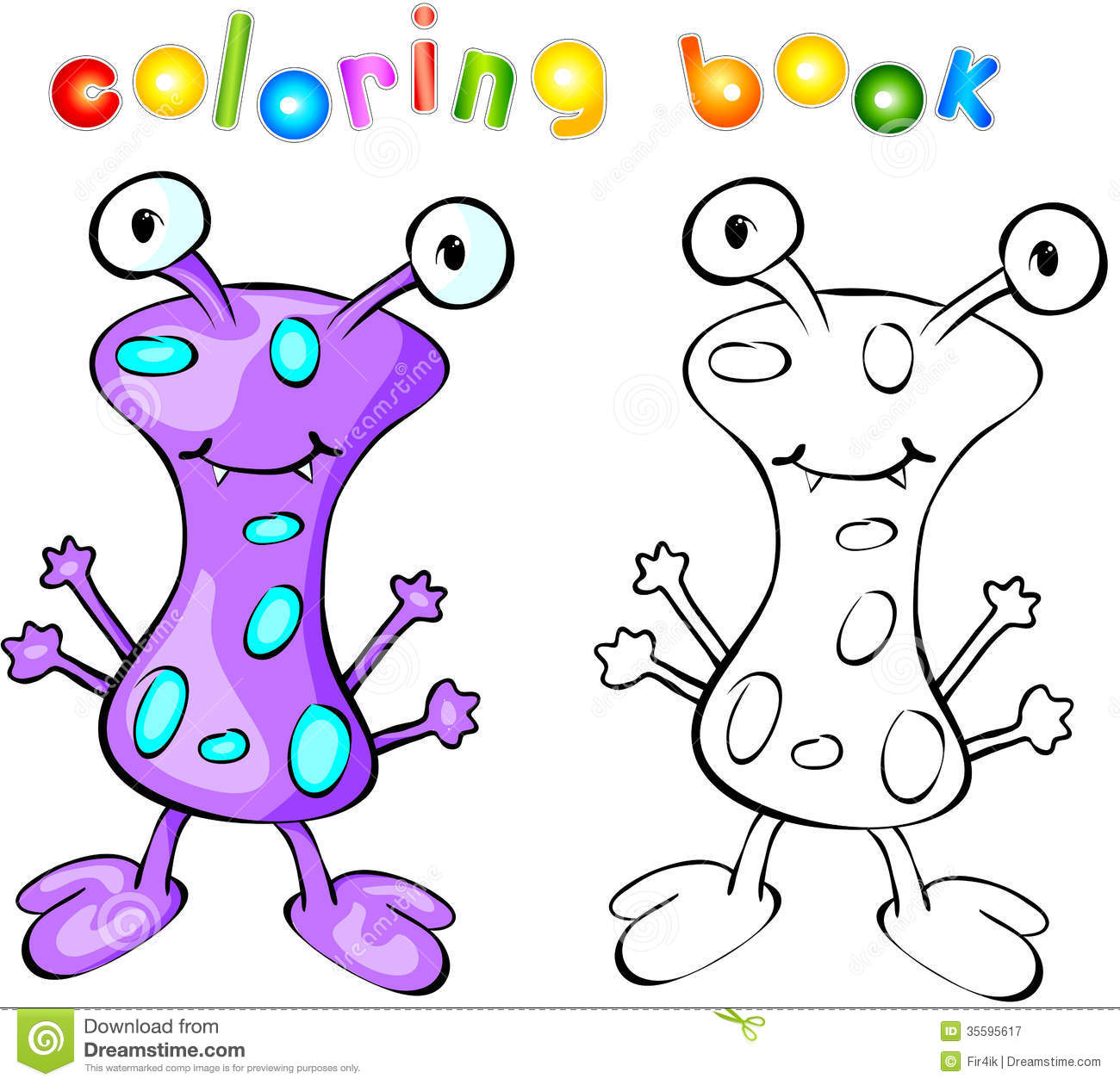 Purple Monster Coloring Book Stock Vector - Illustration of bizarre ...