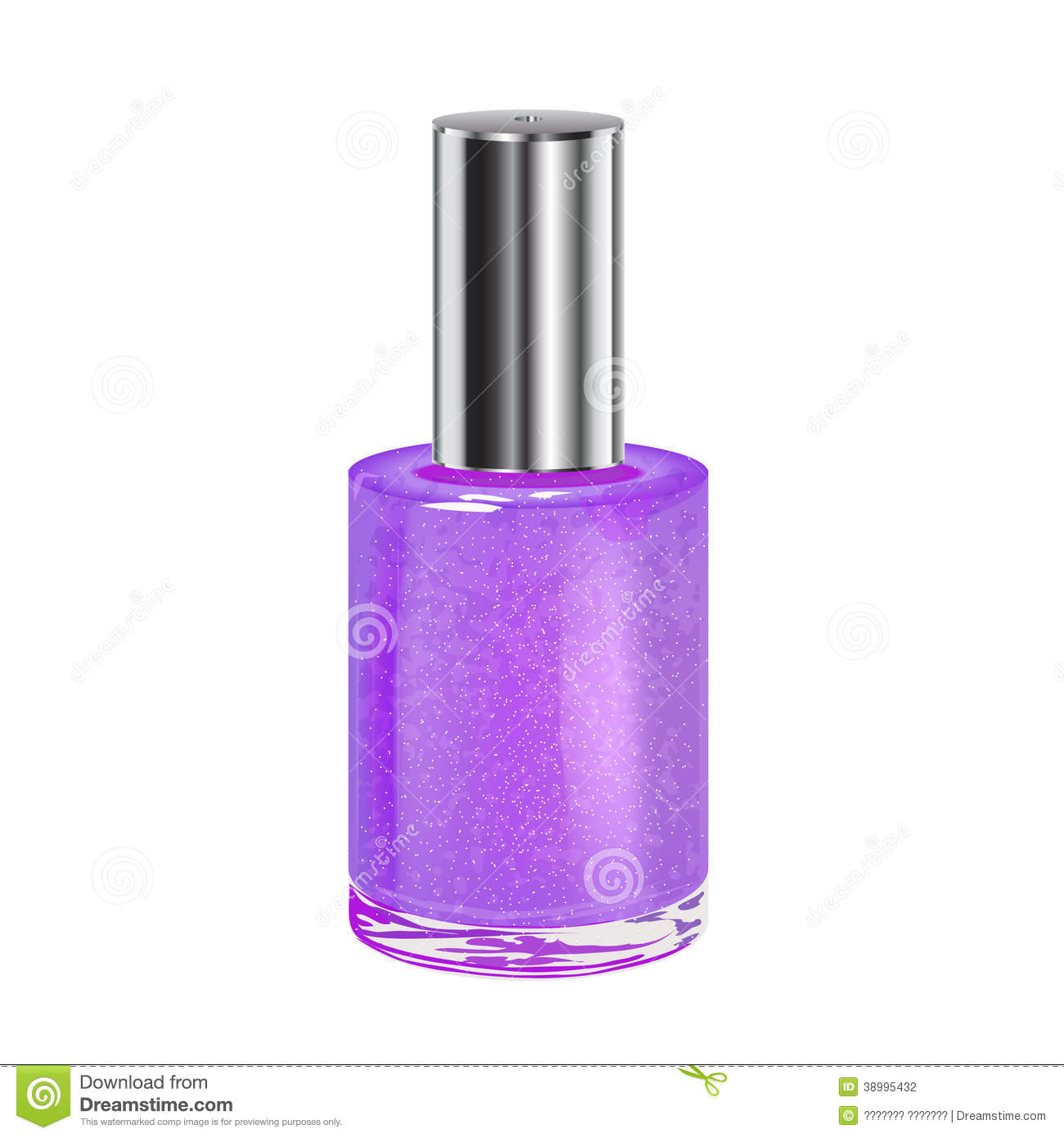 Purple Nail Polish With Silver Cap Stock Vector