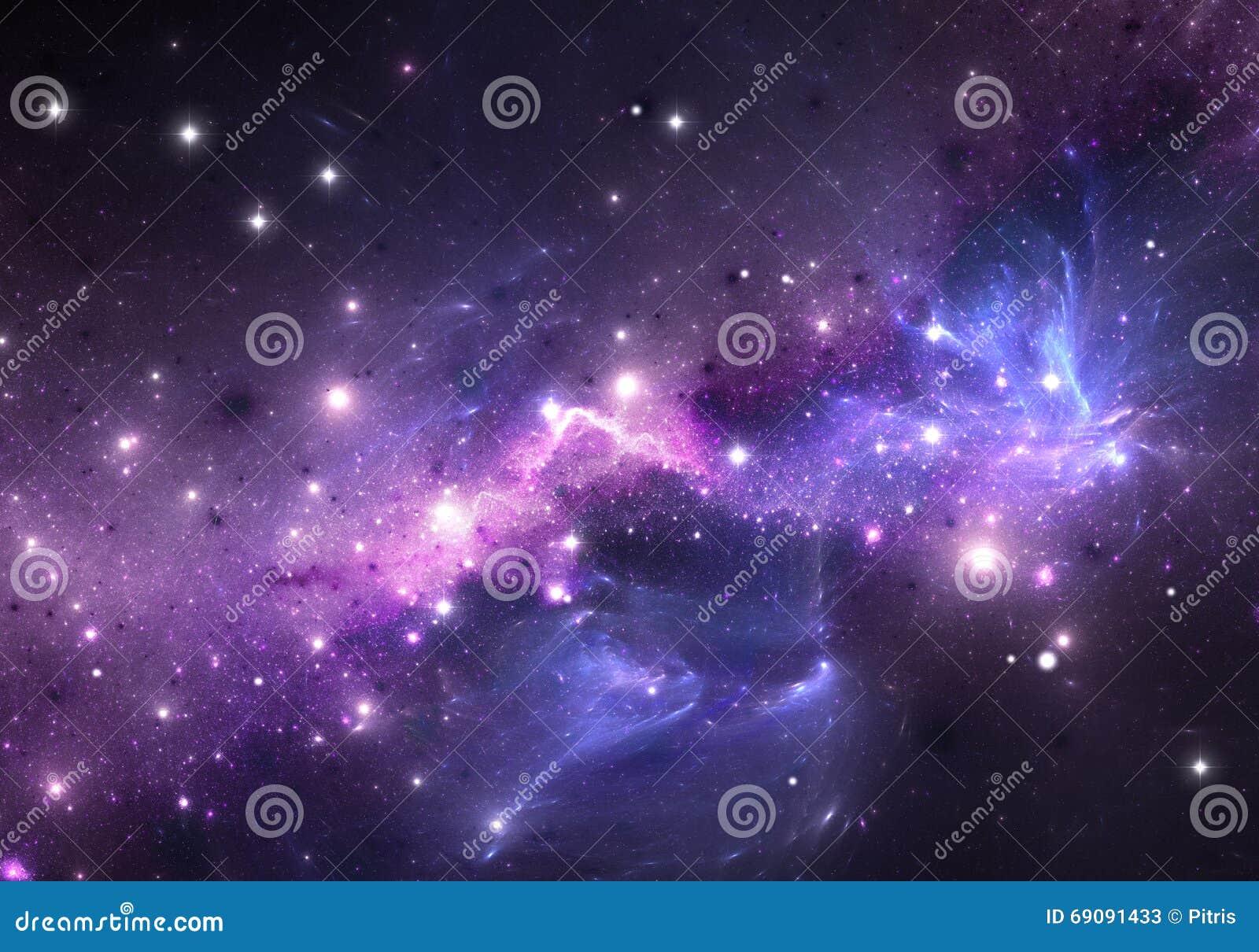 Purple nebula and stars  stock illustration  Illustration of