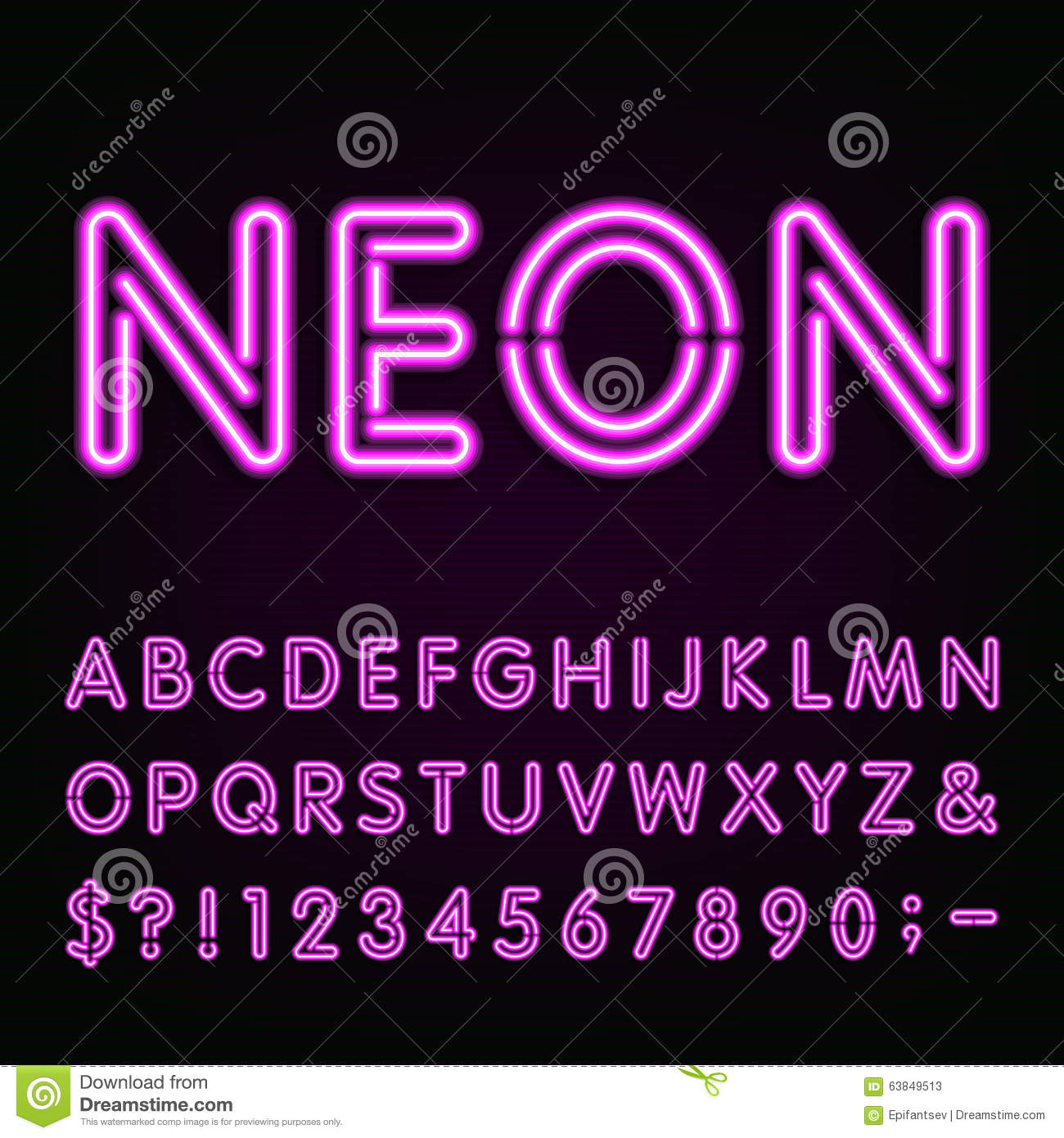Purple Neon Light Alphabet Font Stock Vector