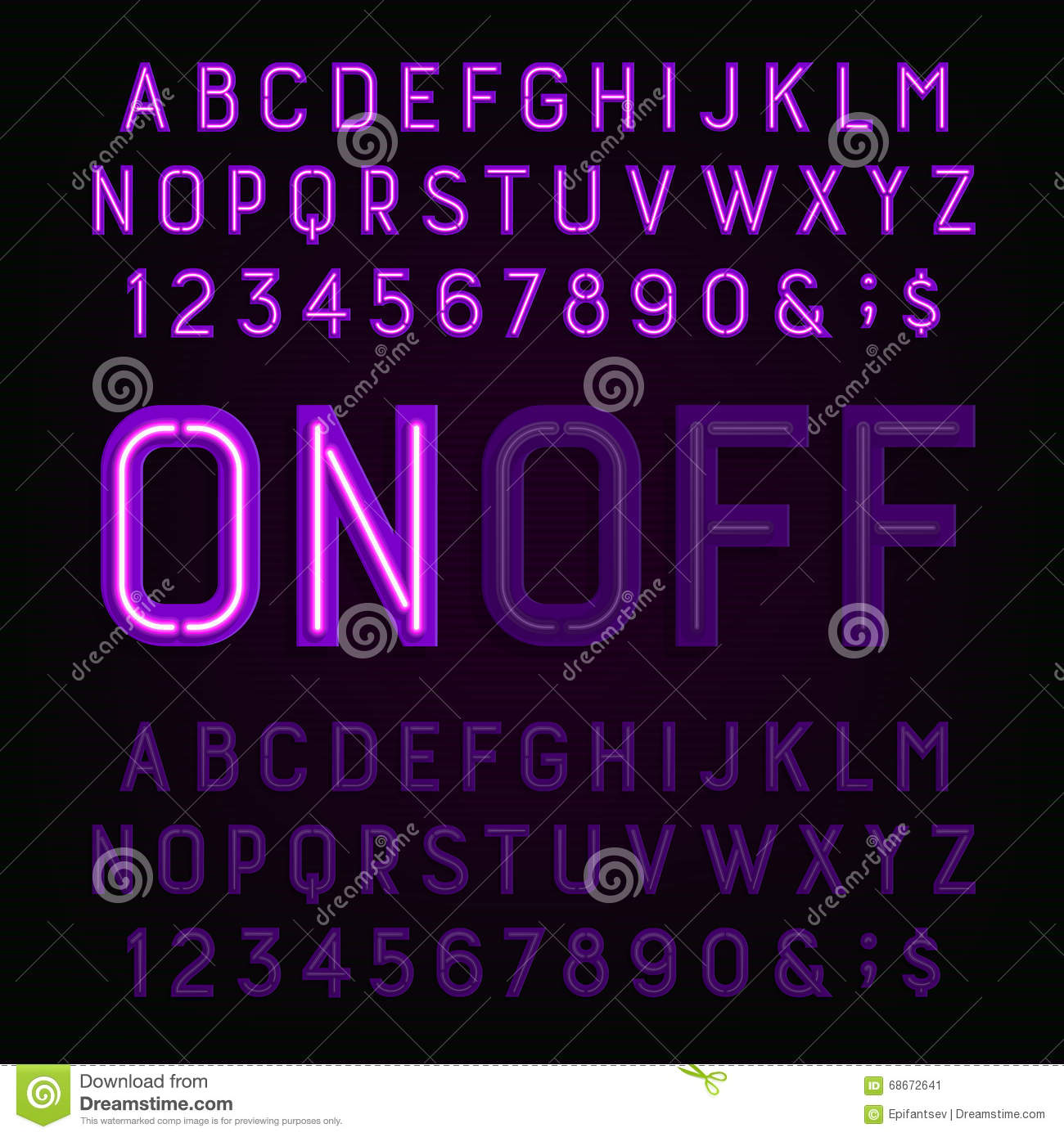 Neon Light Font Cartoon Vector