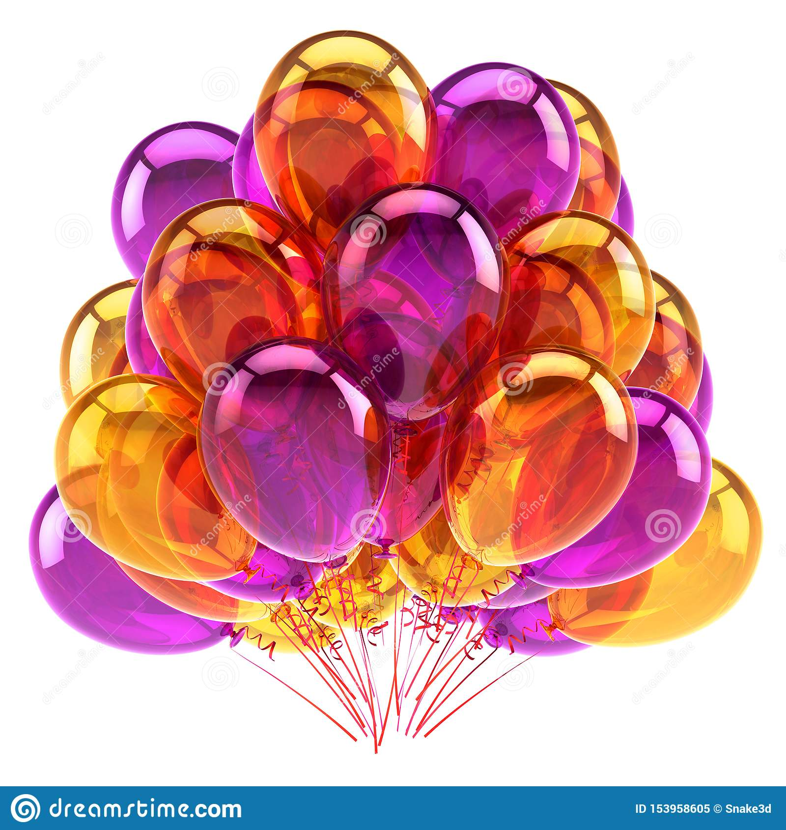 Purple orange colorful party balloons bunch glossy