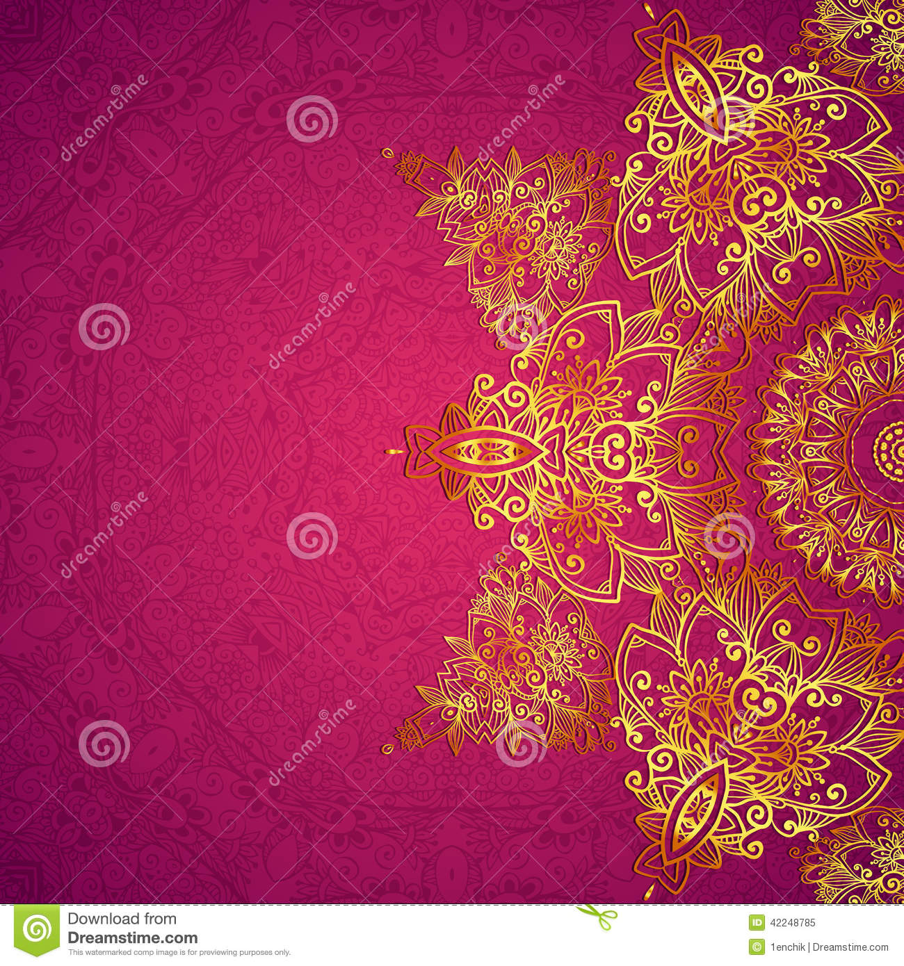 Purple Ornate Vintage Wedding Card Background Stock Vector ...