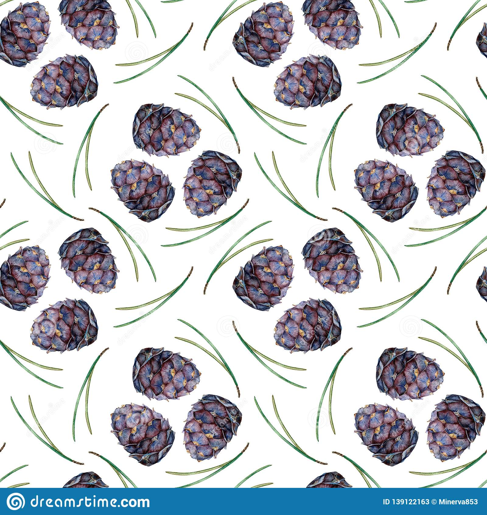 Purple Pine Cone And Green Needles Pattern Winter Tree Seamless
